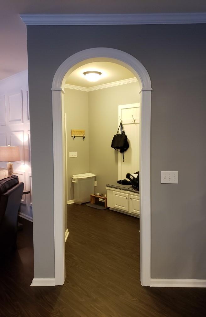 445 EZ Arch in mudroom entryway