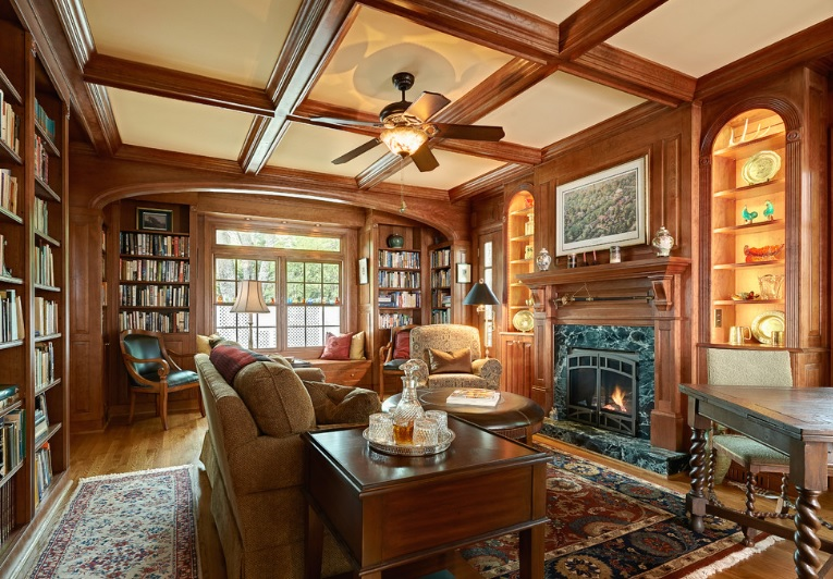Arched Nook in custom library. Stained Cherry wood Library. Custom Elliptical Archway.