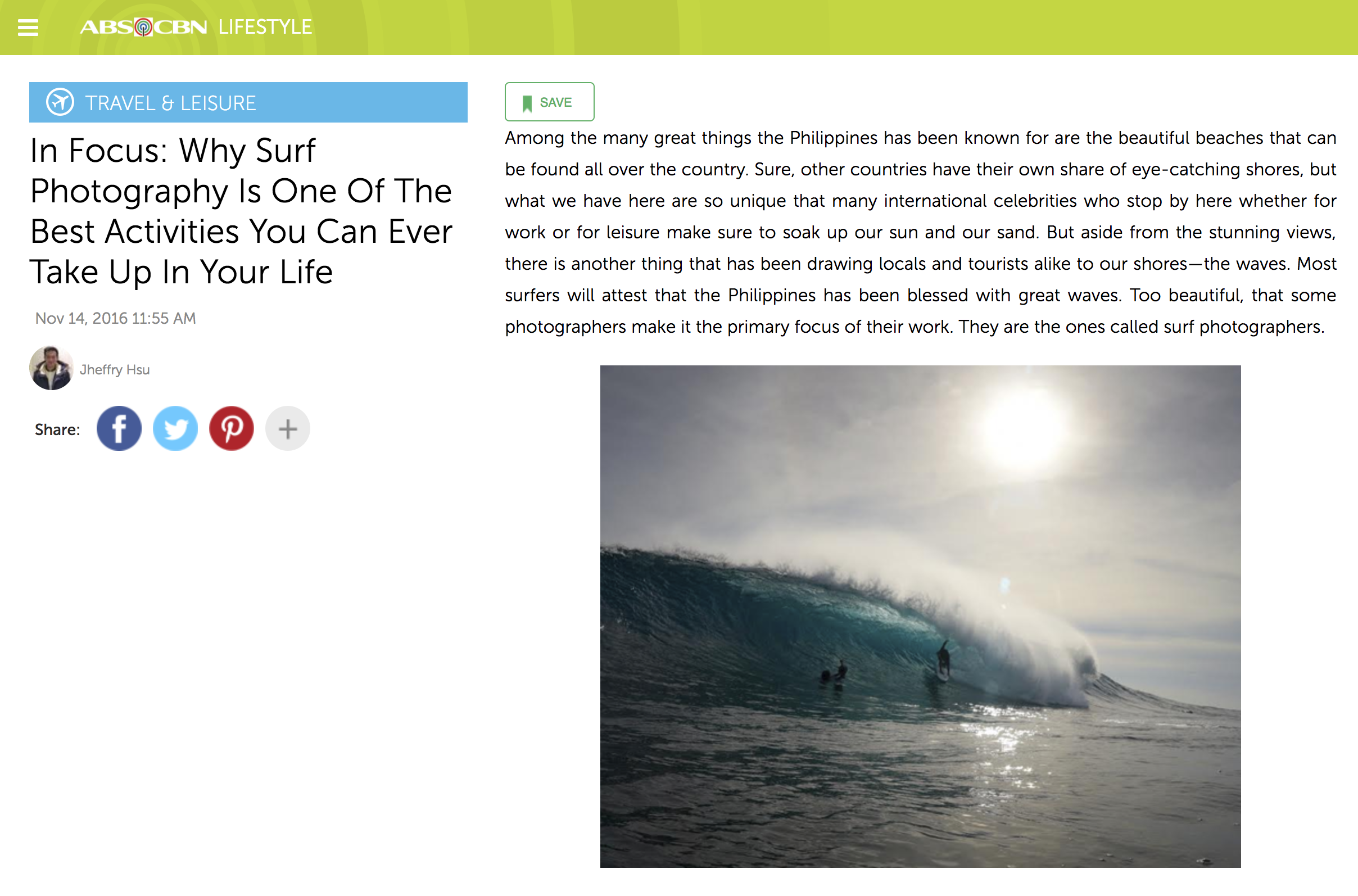 ABS -CBN LIFESTYLE | In Focus: Why Surf Photography Is One Of The Best Activities You Can Ever Take Up In Your Life