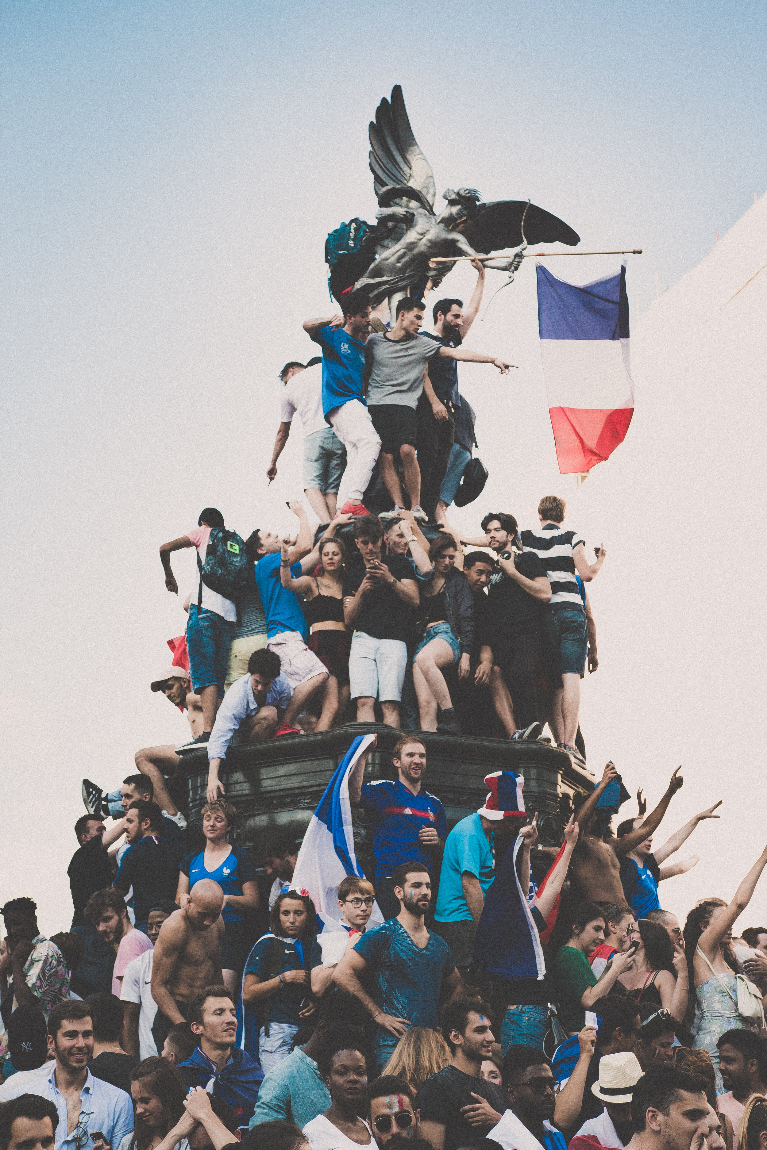 French fans celebrating their World Cup win on the London streets in 2018.