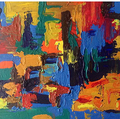 "California-Acrylic | Canvas | Palette Knife 12 X 12"""