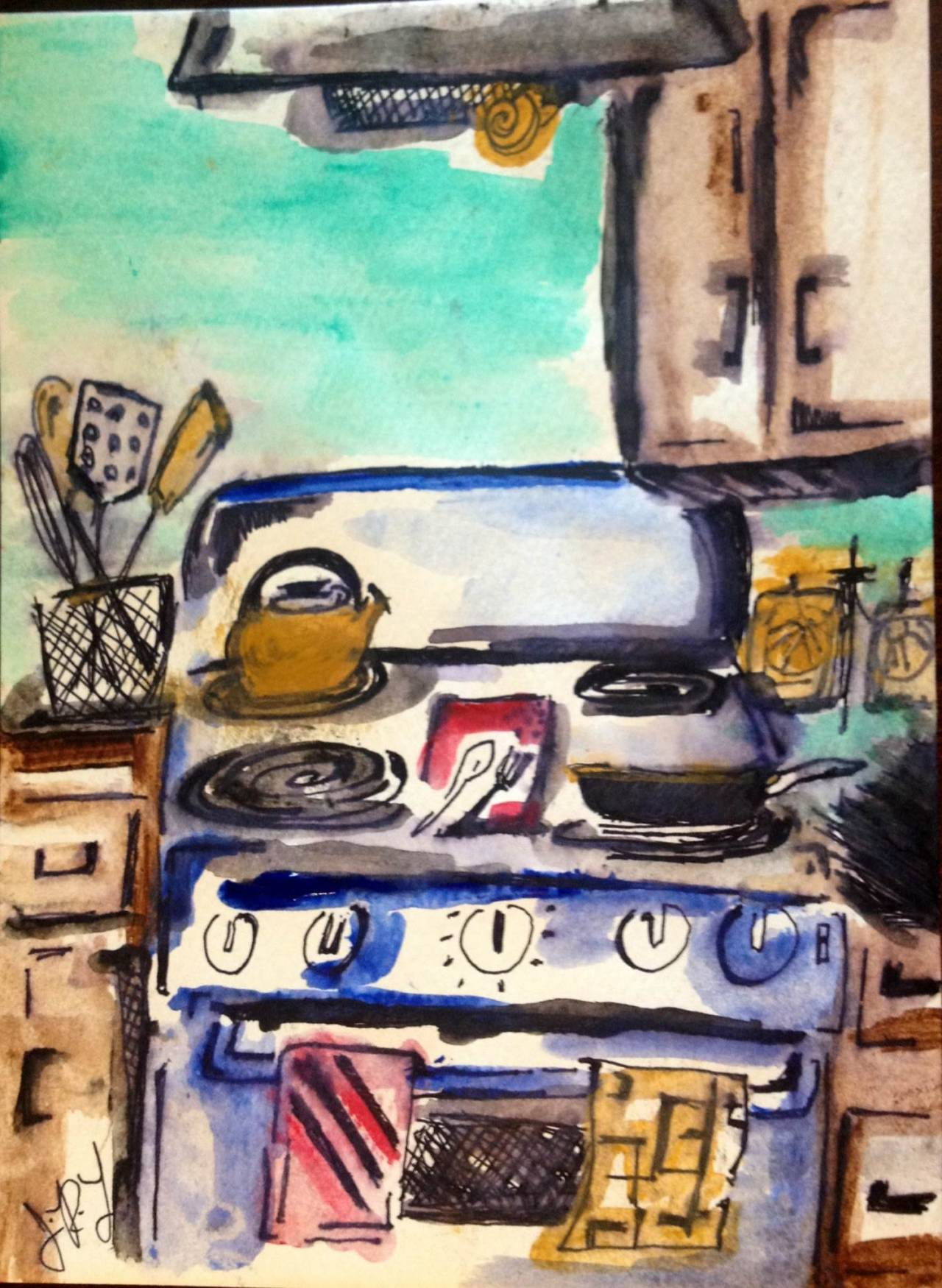 Kitchen-Ink and Watercolor 5 X 7""
