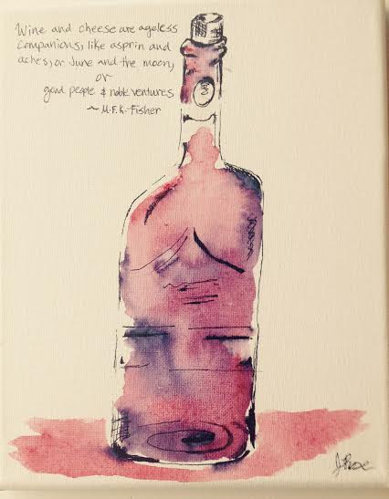 Wine: About It-Ageless | Ink and Watercolor | 8 X 10"
