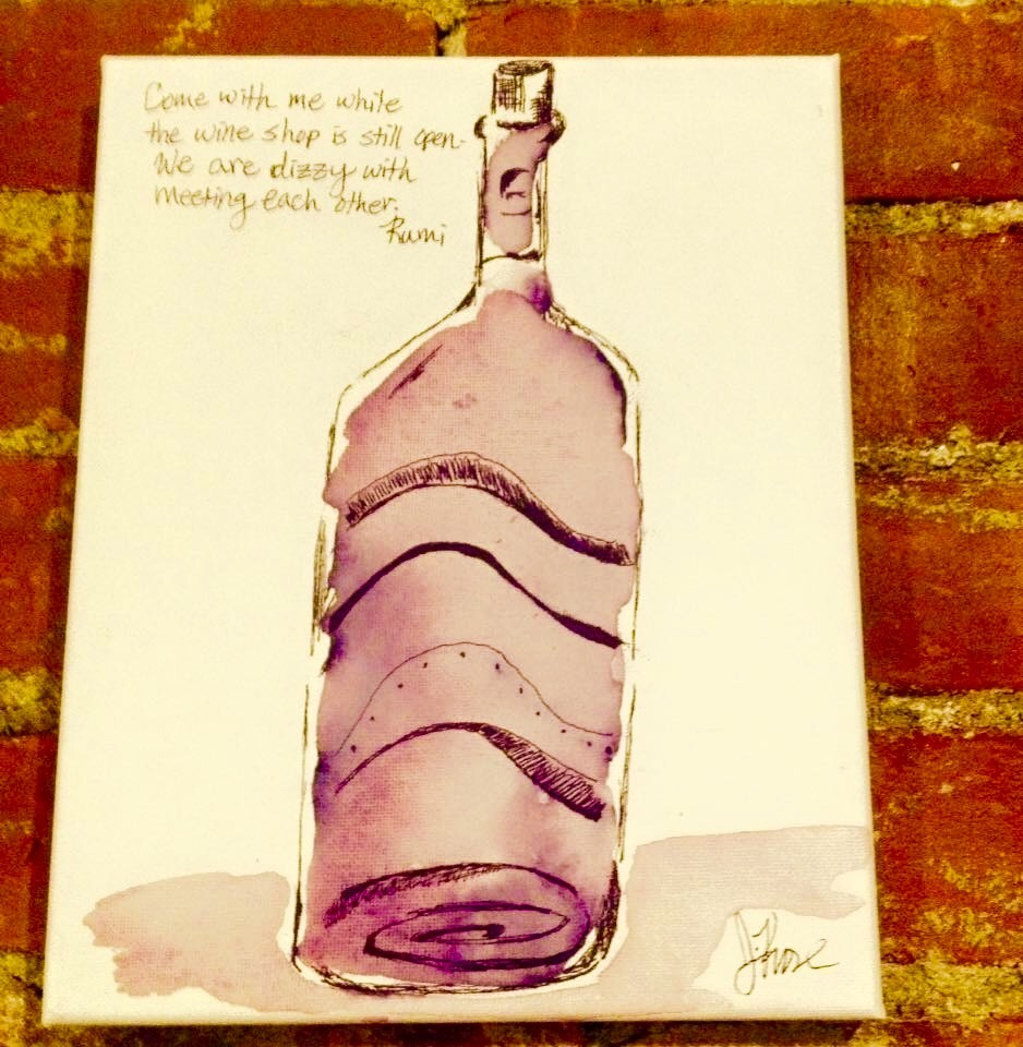 Wine: About It-Dizzy | Ink and Watercolor 8 X 10"
