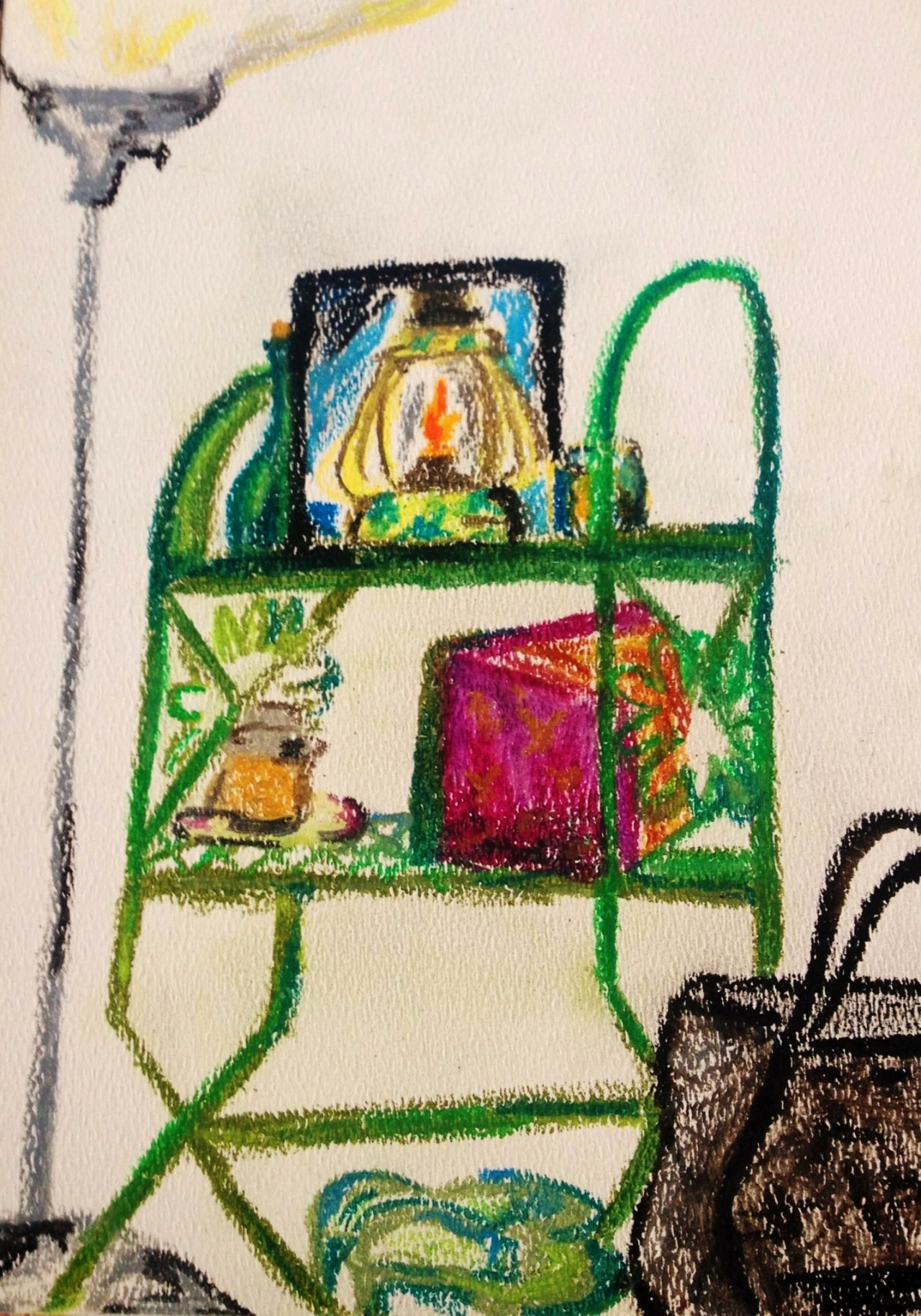 Green Shelf-Oil Pastel | Paper