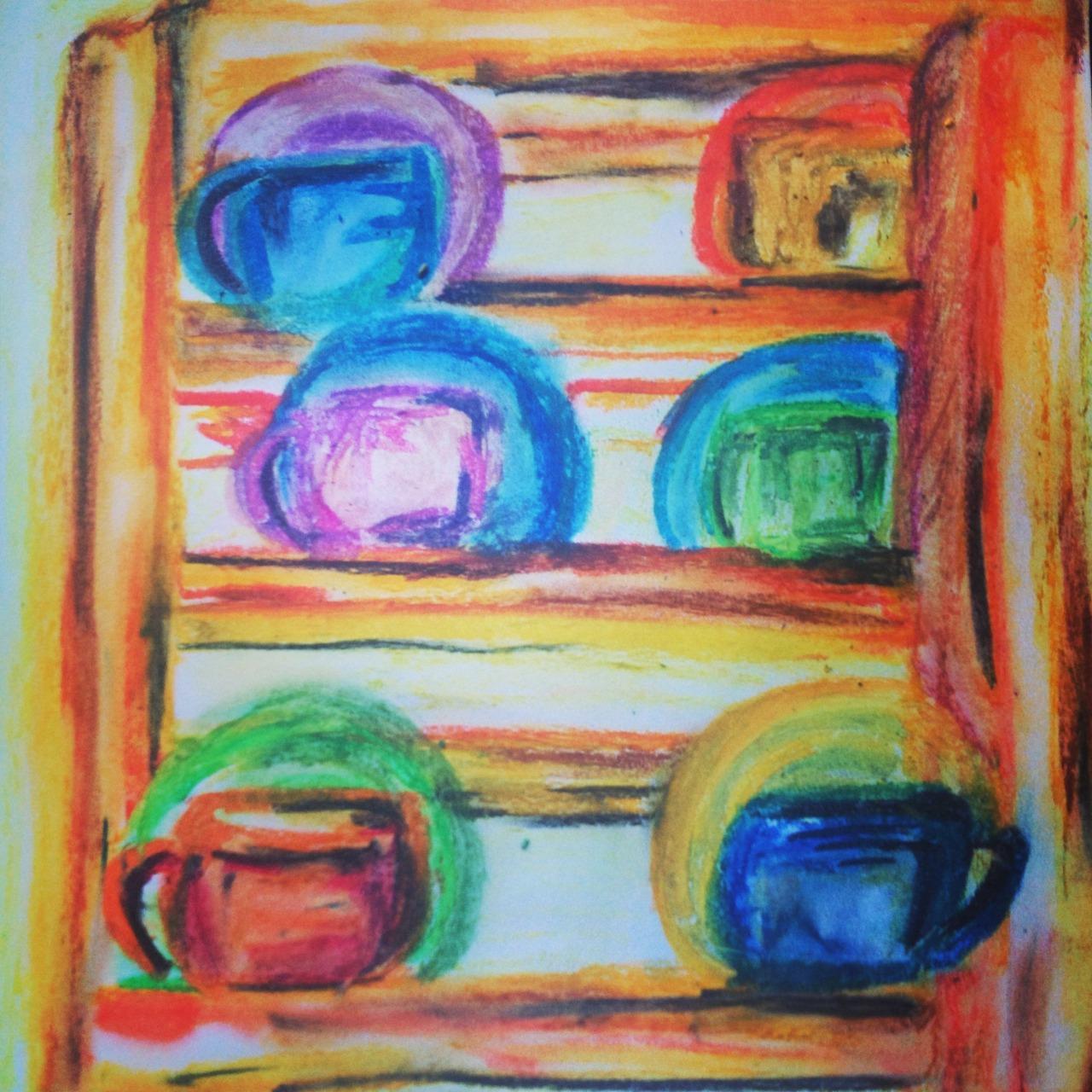 Cups-Oil Pastel | Paper