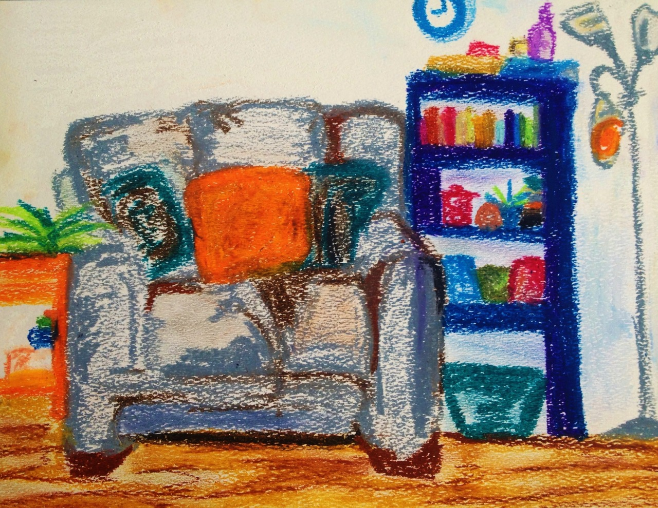 Living Room-Oil Pastel | Paper