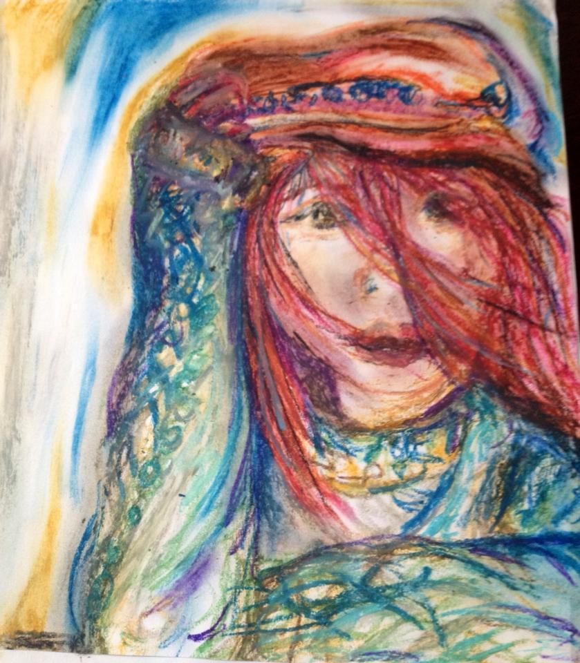 Wind Girl-Oil Pastel | Paper