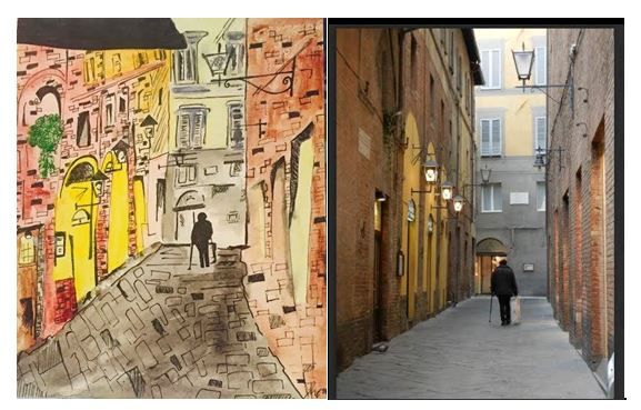 Siena Streets-Ink and Watercolor