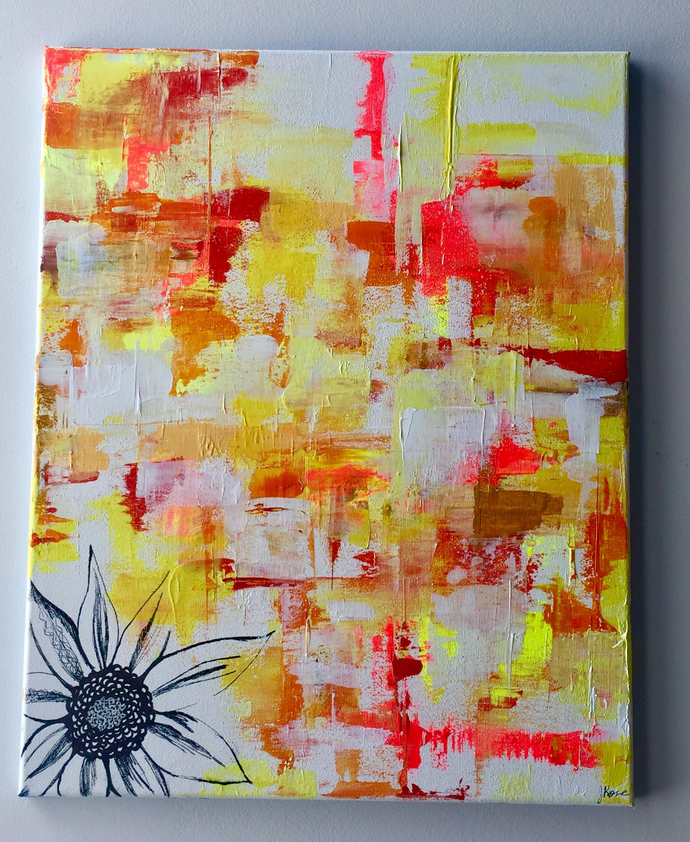 "Sunflower Rising-Acrylic | Mixed Media | Palette Knife | 16 X 20"""