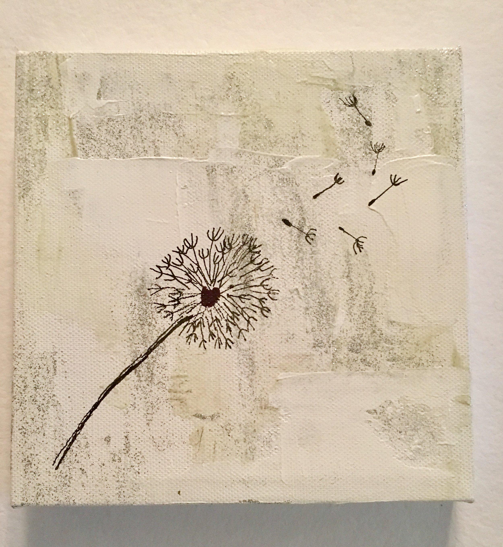 "Dandelion Breathes-Acrylic & Mixed Media | Canvas | Palette Knife 6 X 6"""