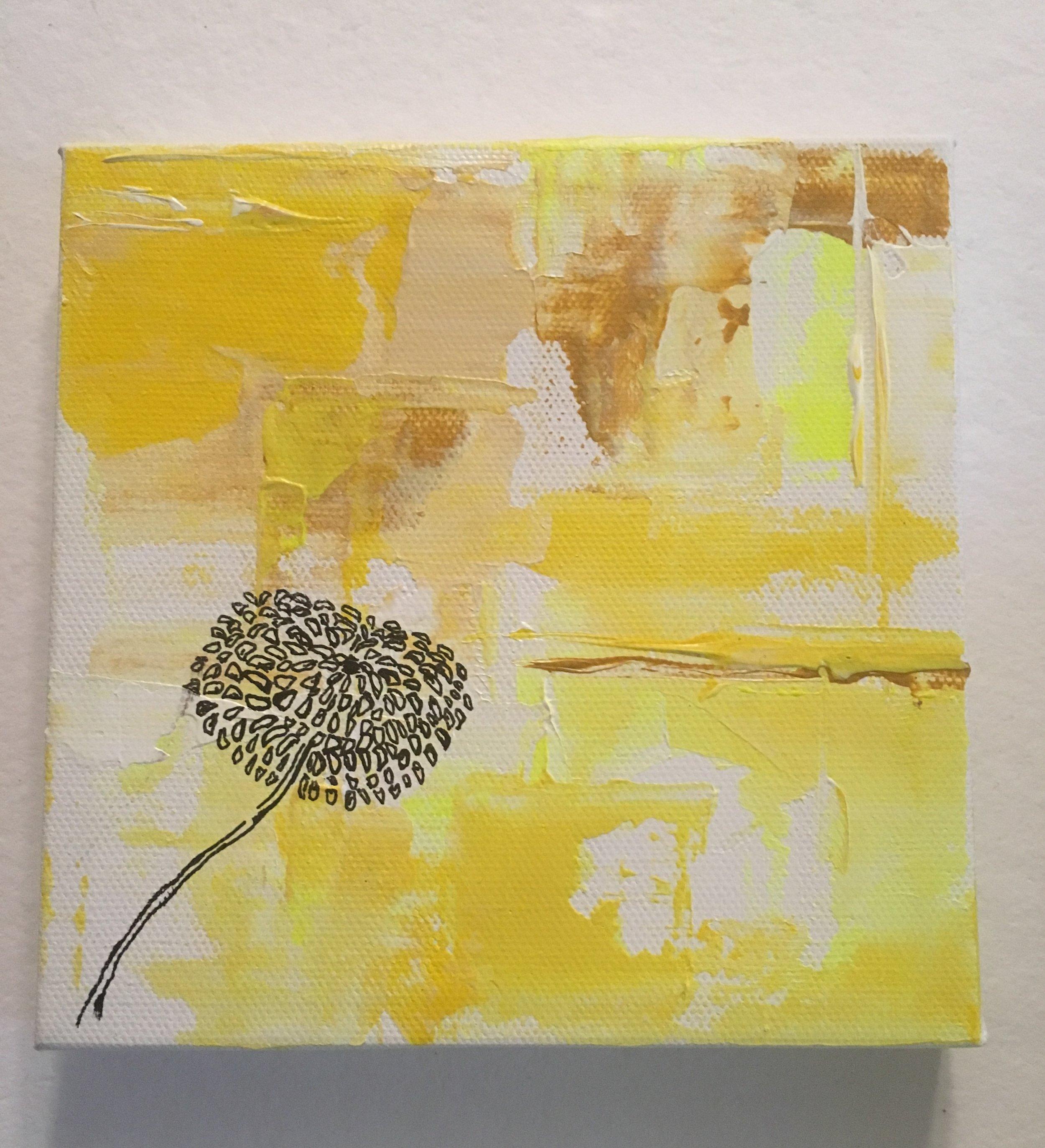 "Dandelion Shines-Acrylic & Mixed Media | Canvas | Palette Knife 6 X 6"""