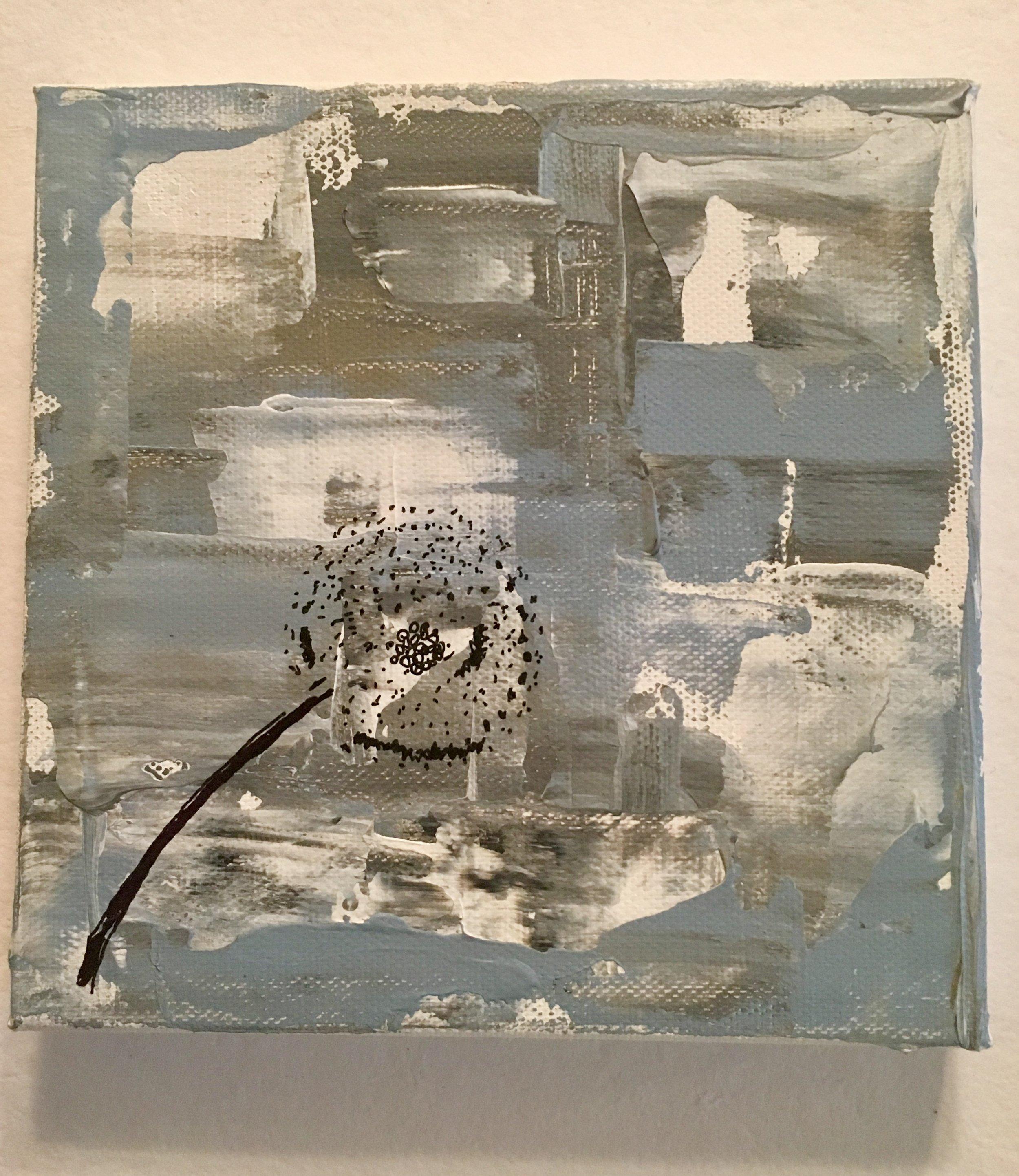 "Dandelion Sighs-Acrylic & Mixed Media | Canvas | Palette Knife 6 X 6"""