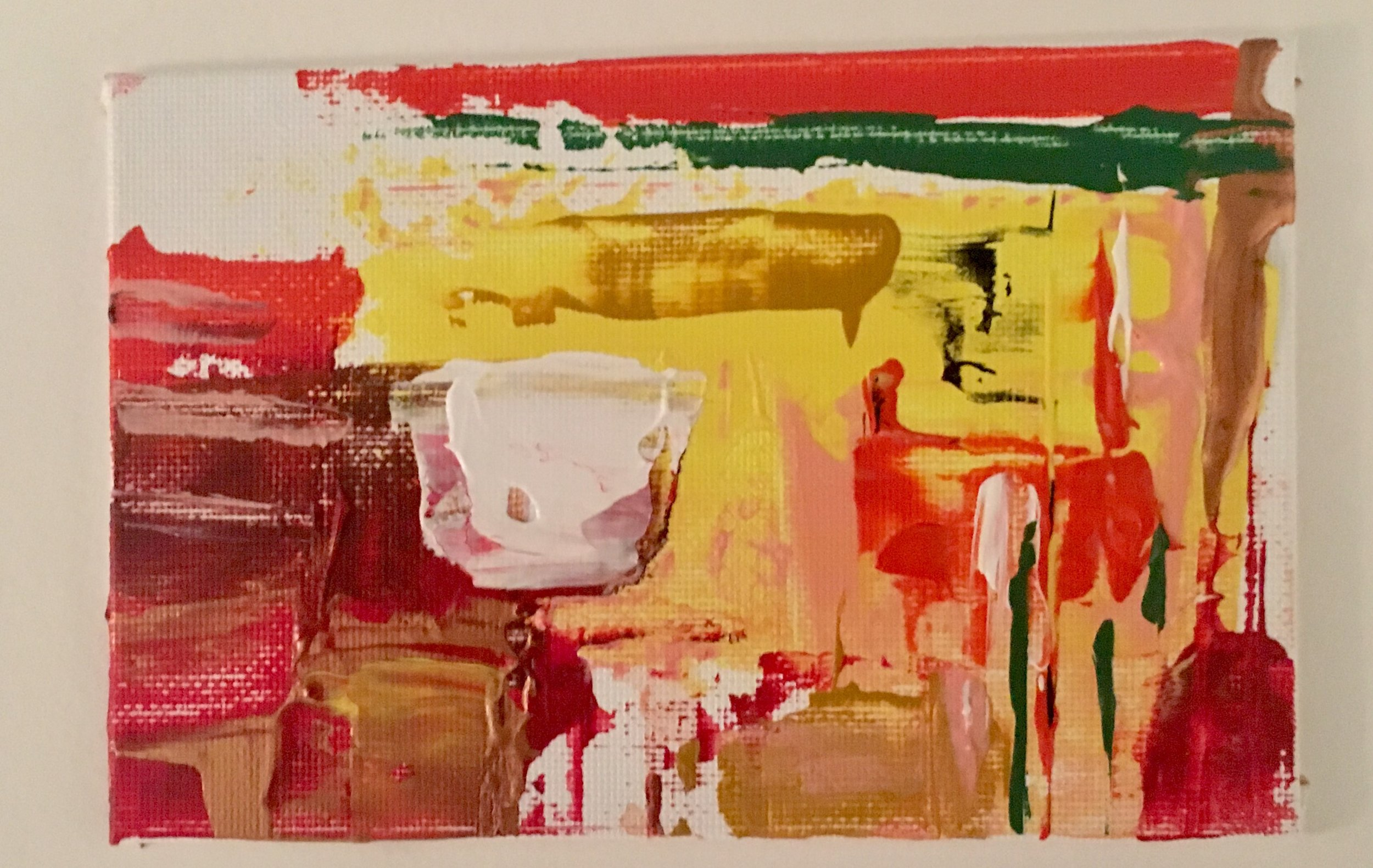 "Cactus & Canyon- Mini-Acrylic | Canvas Board | Palette Knife 4 X 6"""