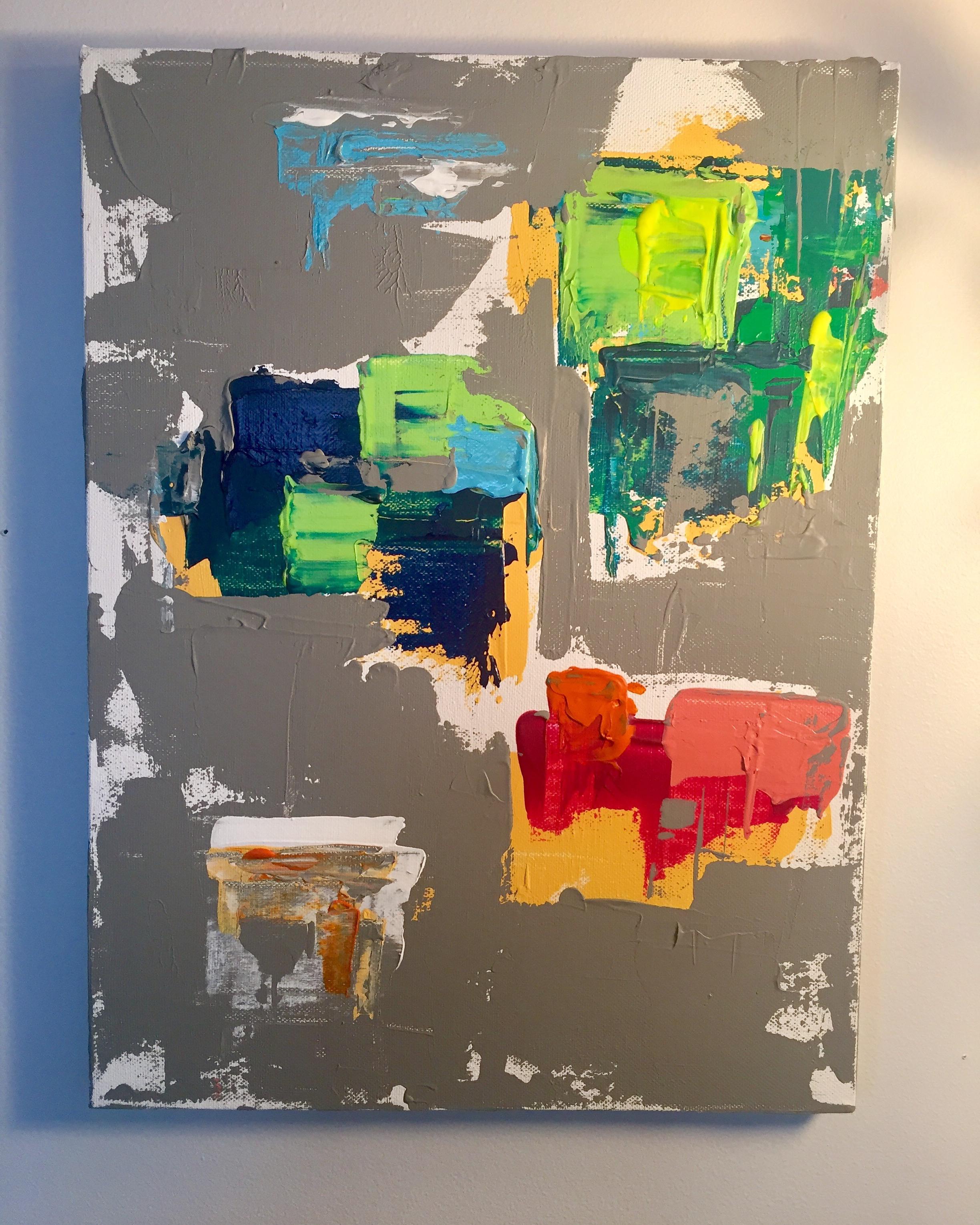 "Maps-Acrylic | Canvas | Palette Knife 12 X 16"" Planes Series 2017"