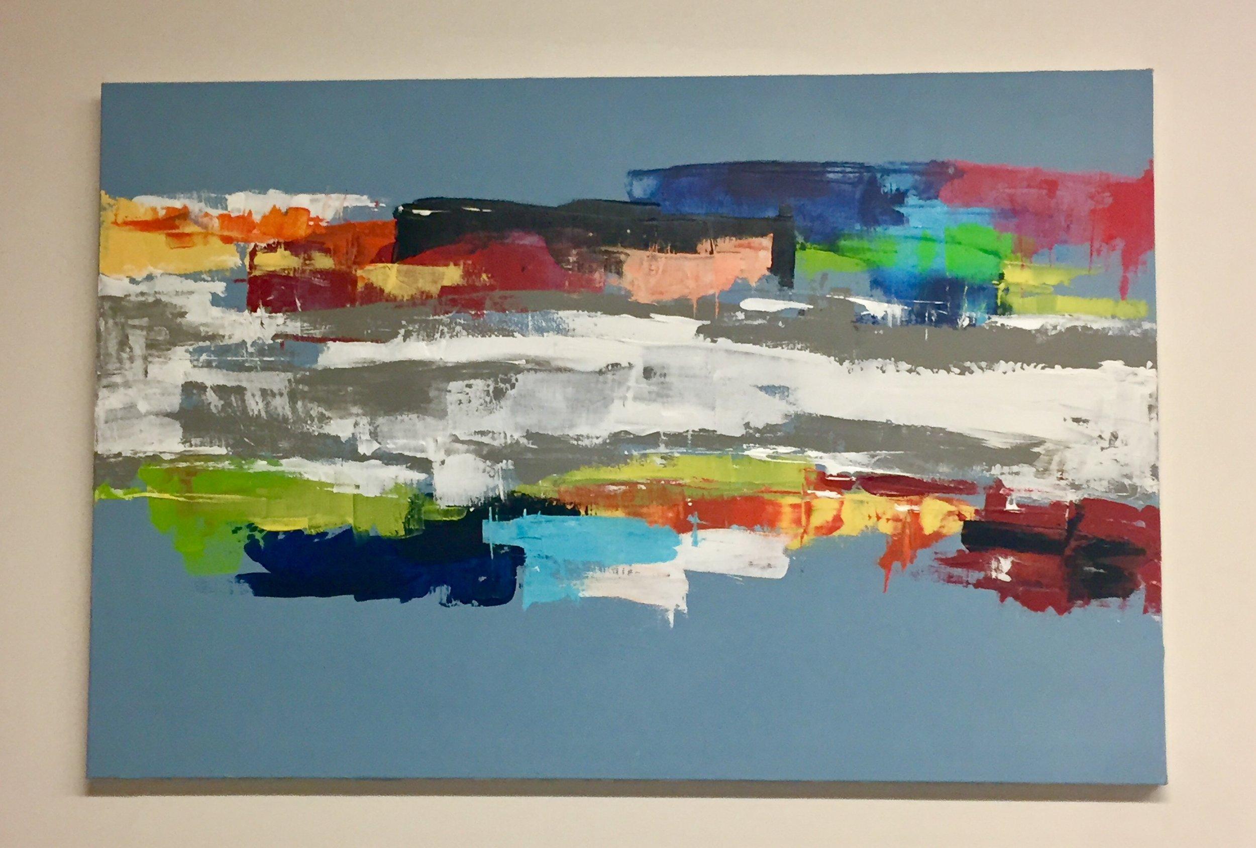"Spectrum-Acrylic | Canvas | Palette Knife 24 X 36"" Planes Series 2017"