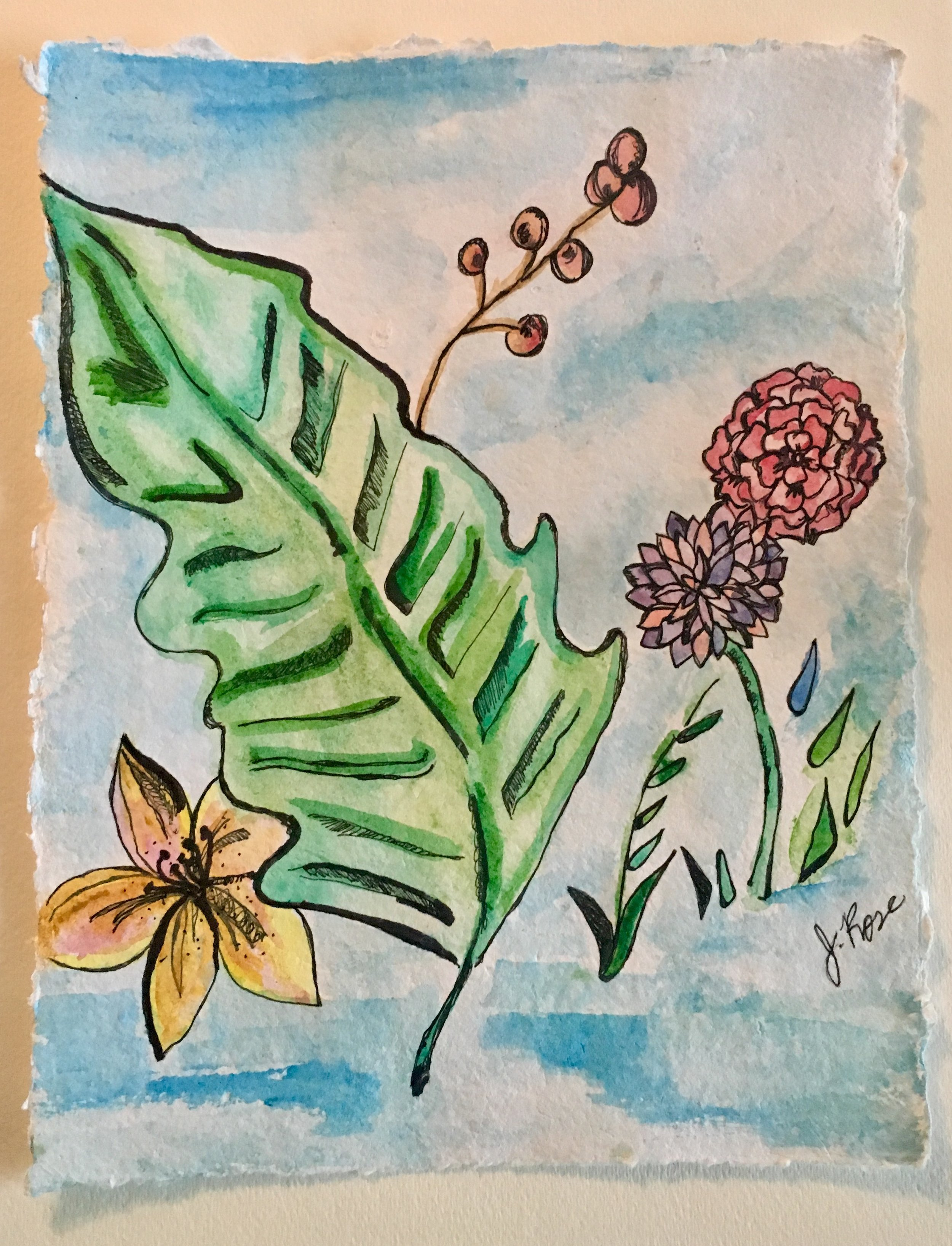 Botanicals Palm-Ink-Watercolor