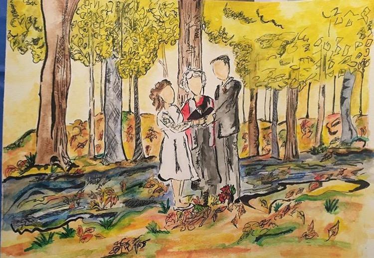 Wedding & Woods-Ink-Watercolor