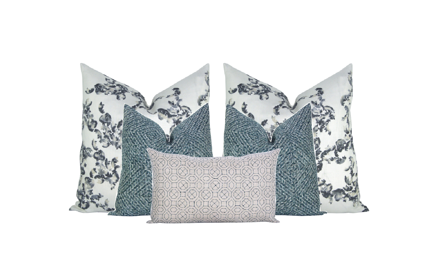 NAVY PATTERN PLAY - We love the balance of this relaxed floral with two more structured patterns.