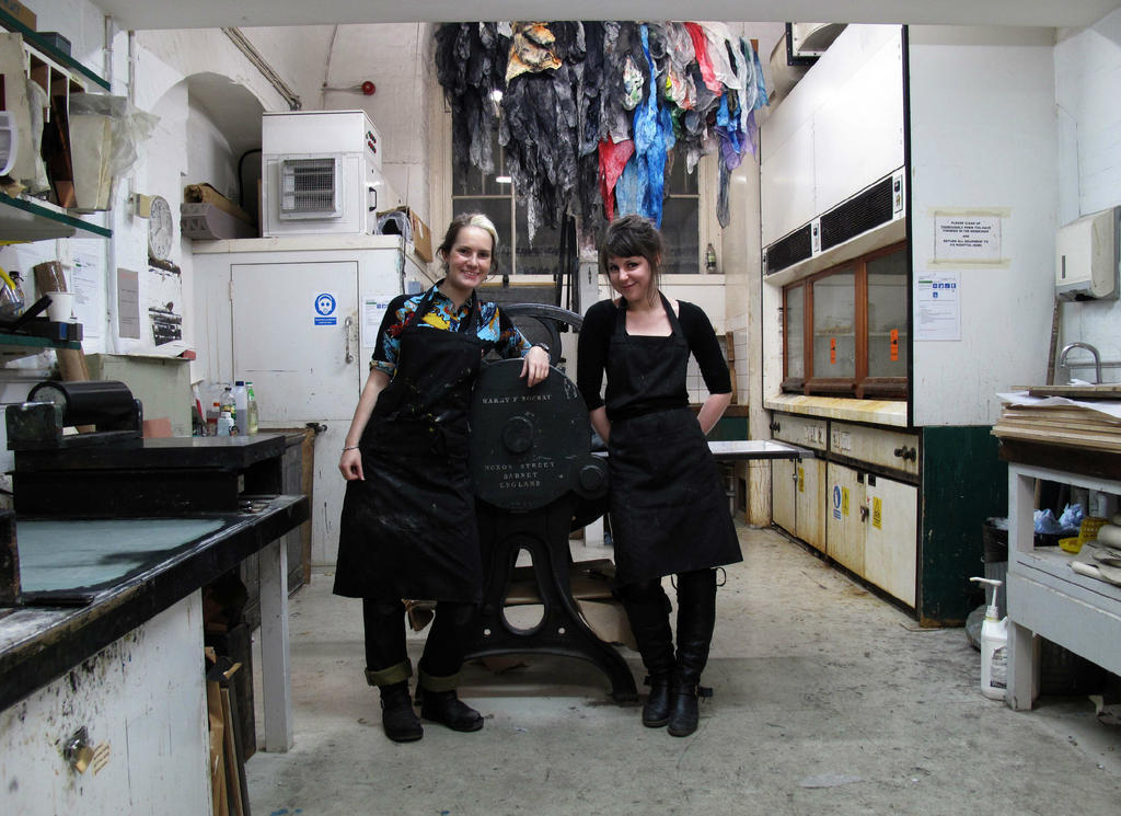 Working with the lovely Bea Haines at the Royal Academy Etching Studio.