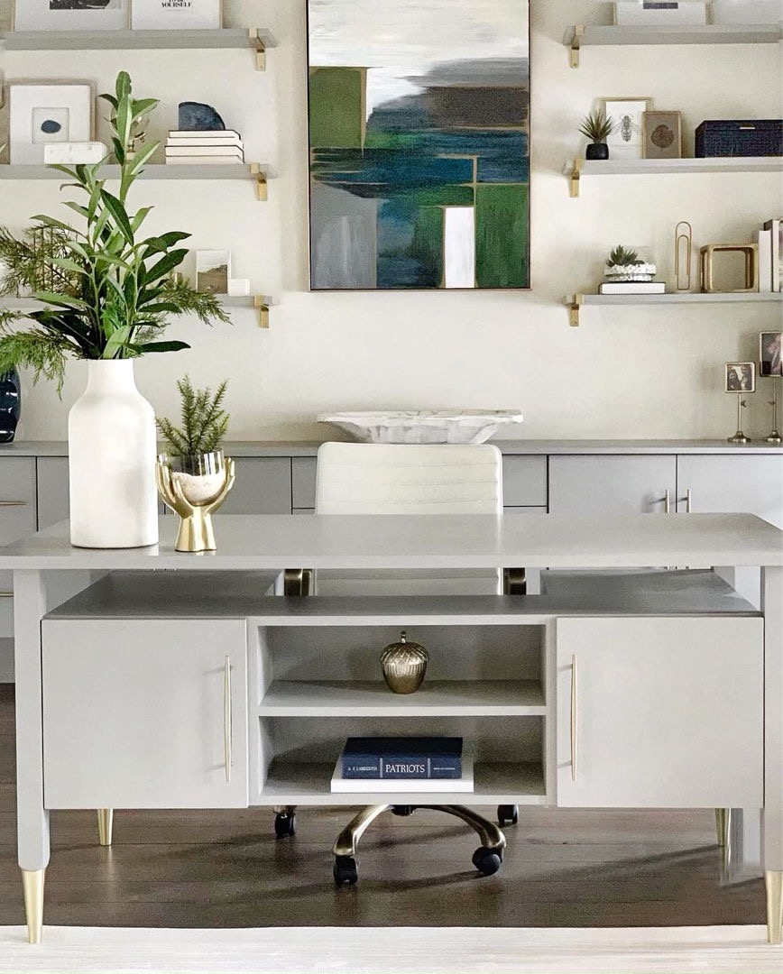 River Road home Office - Custom designed with elegant, modern touches and original artwork.