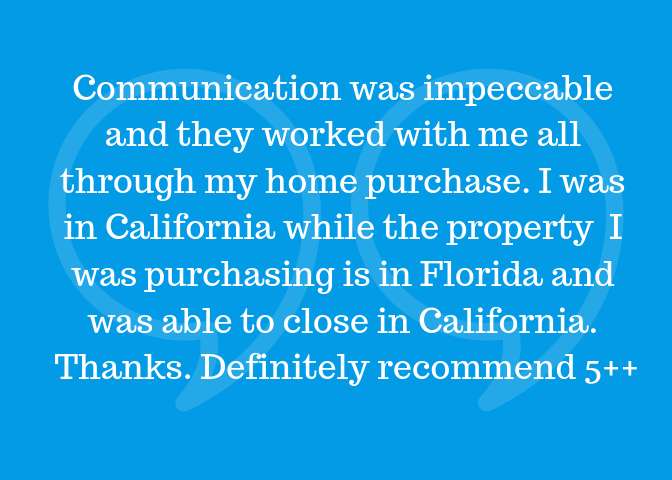 Communication was impeccable and Alec worked with me all through my home purchase. I was in California while the property I was purchasing is in Florida and was able to close in California. Thanks. Definitely recomme.png