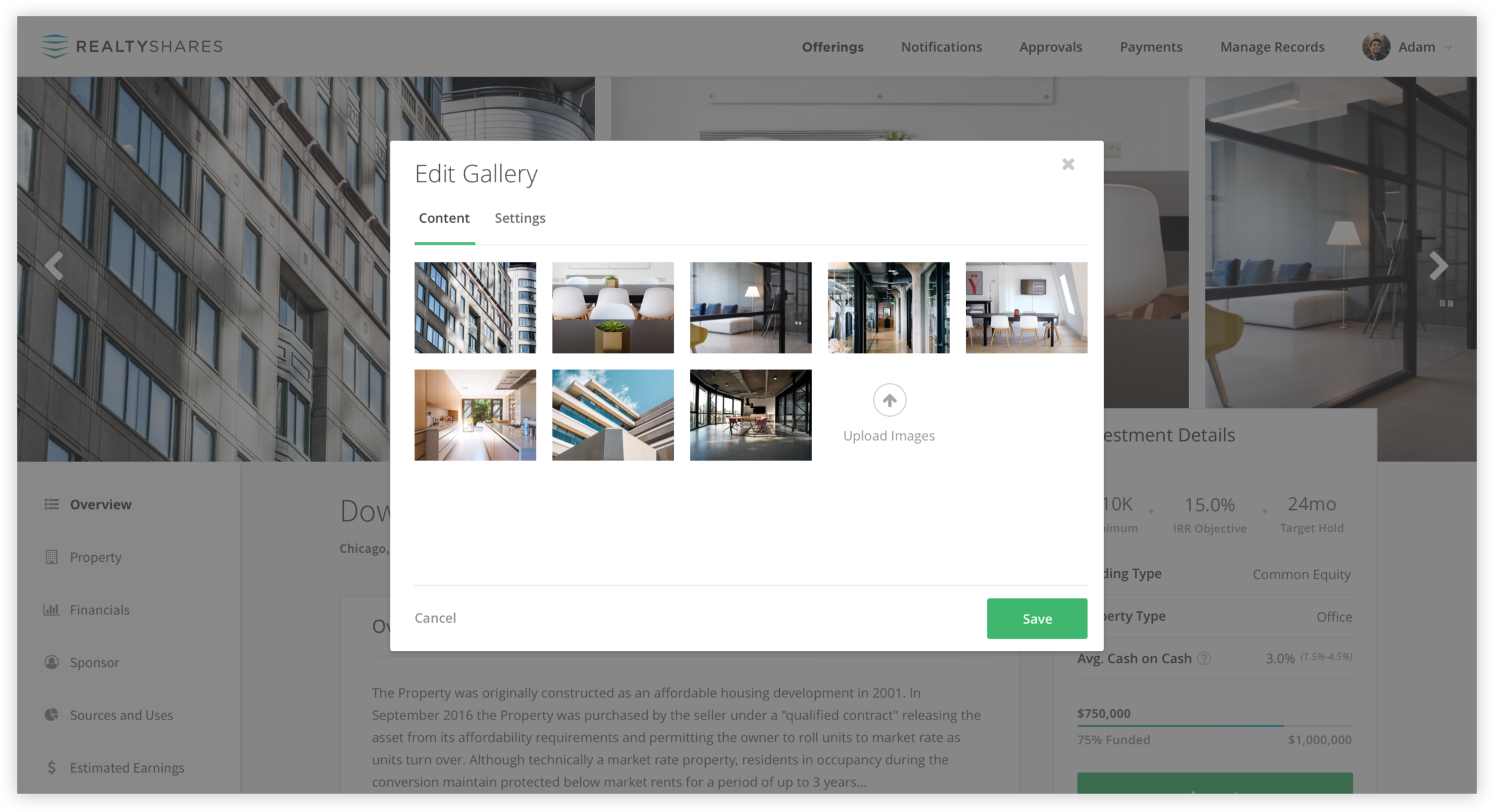 """Users could access the editor tools by hovering over various sections of the page. For example, hovering over the image gallery would reveal an """"Edit"""" button, which would lead users to an editor modal when clicked."""
