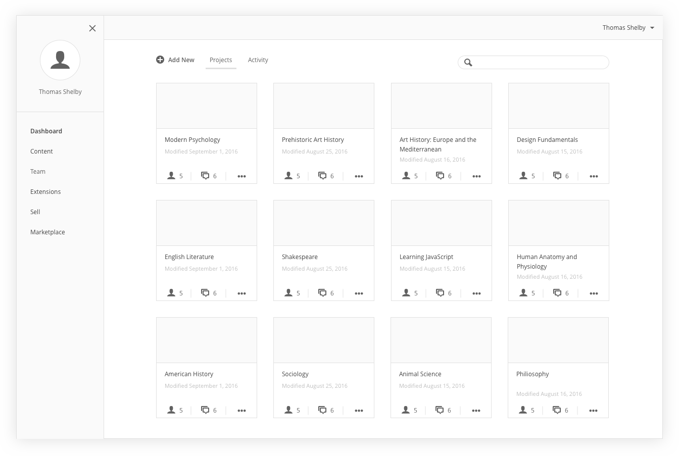 An early concept of the user dashboard showcasing a collection of user projects.