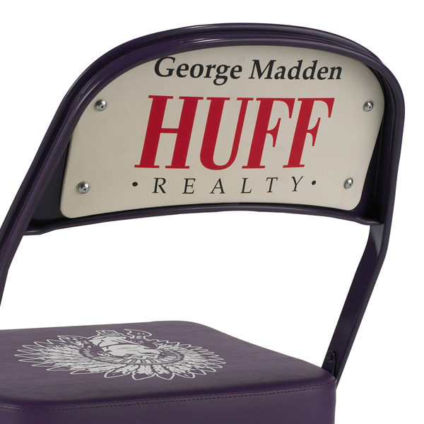 Double Back  The perfect location for sponsor advertising, logos and any other message, the vinyl panel is mounted to the back of the chair.  Available on models: 2000, 3000, 4000  Click to enlarge photo