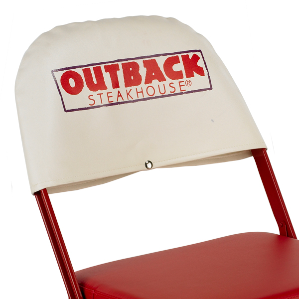 Slip Covers  Easily change out sponsors or logos with our vinyl slipcovers. There's a slip cover that fits every folding chair model.  Available on models: 2000, 3000, 4000, Contour, Club, VIP  Click photo to enlarge