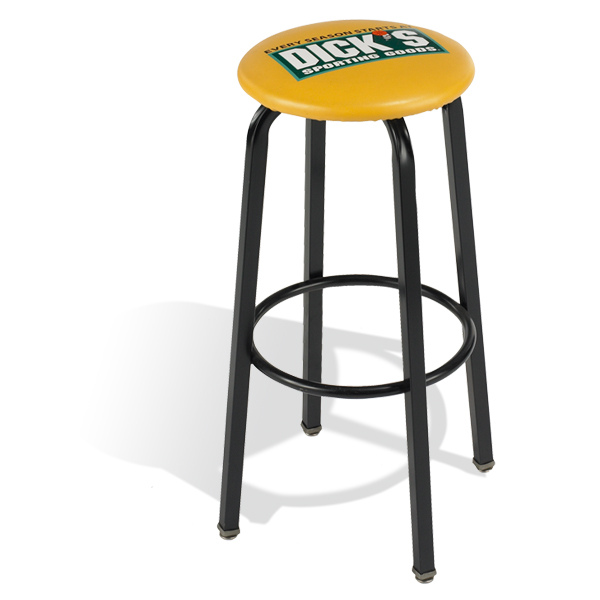 """130  30"""" (762 mm) bar height stool with footring, your choice of frame color, vinyl color and custom logo."""