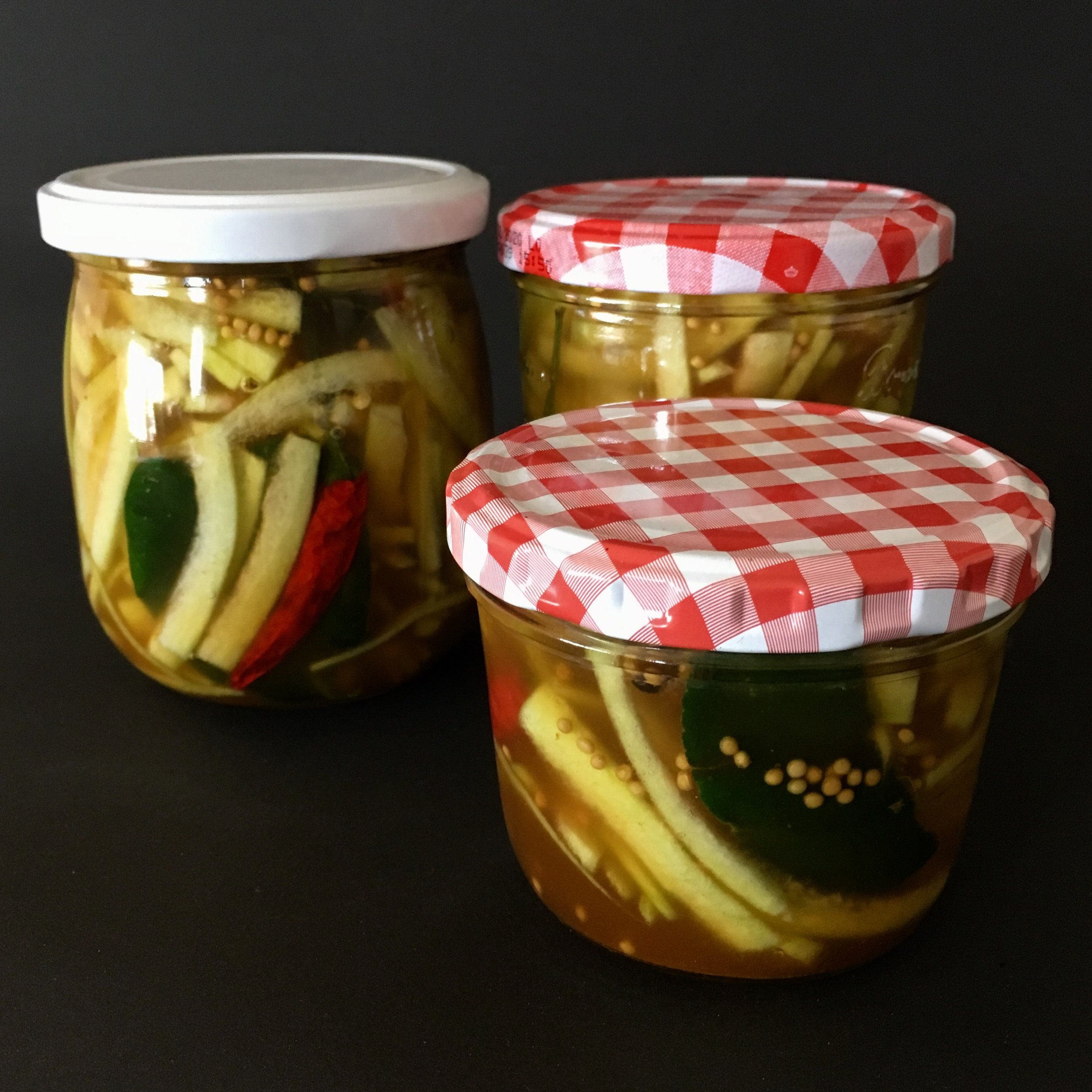 The finished pickled watermelon rind. Very good in sandwiches, salads and as a BBQ condiment.