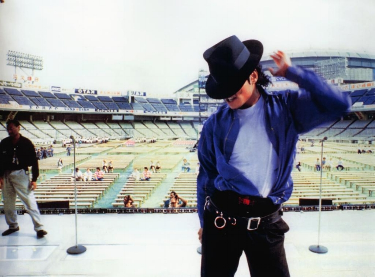 Michael rehearsing for the Bad Tour at Kourakuen Stadium.
