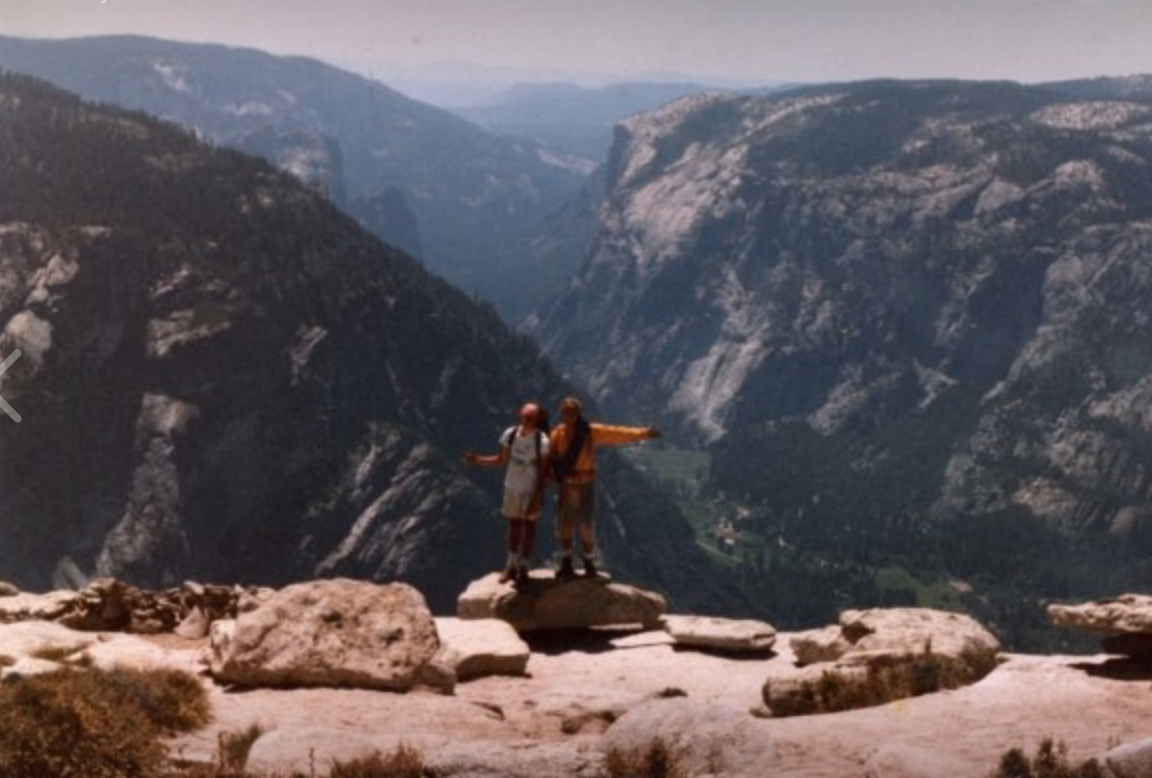 Andy & friend Kirk Huiznga, top of Snake Dike, Half Dome, Yosemite Yalley, 1986
