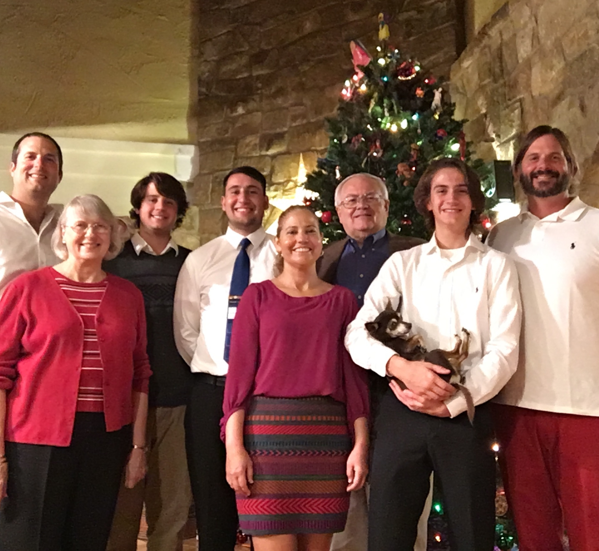 Bilger Family Christmas 2016: from the left, Michael, Dianne, Esiquiel, Christian, Elena, Boyd, Andreas, Billy Bob Jr. Grass(in hands), Andy,