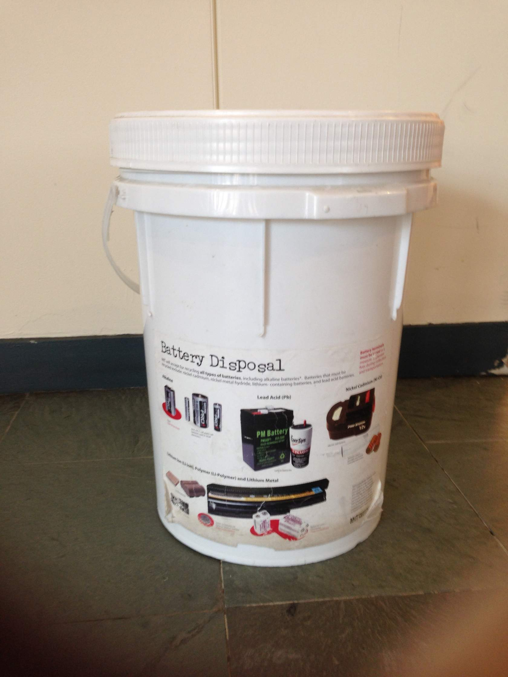 MIT accepts for recycling all types of batteries, including alkaline batteries. - Battery disposal bins are located in Distributed Mail Centersand all residence halls. The Student Center basement also has receptacles.