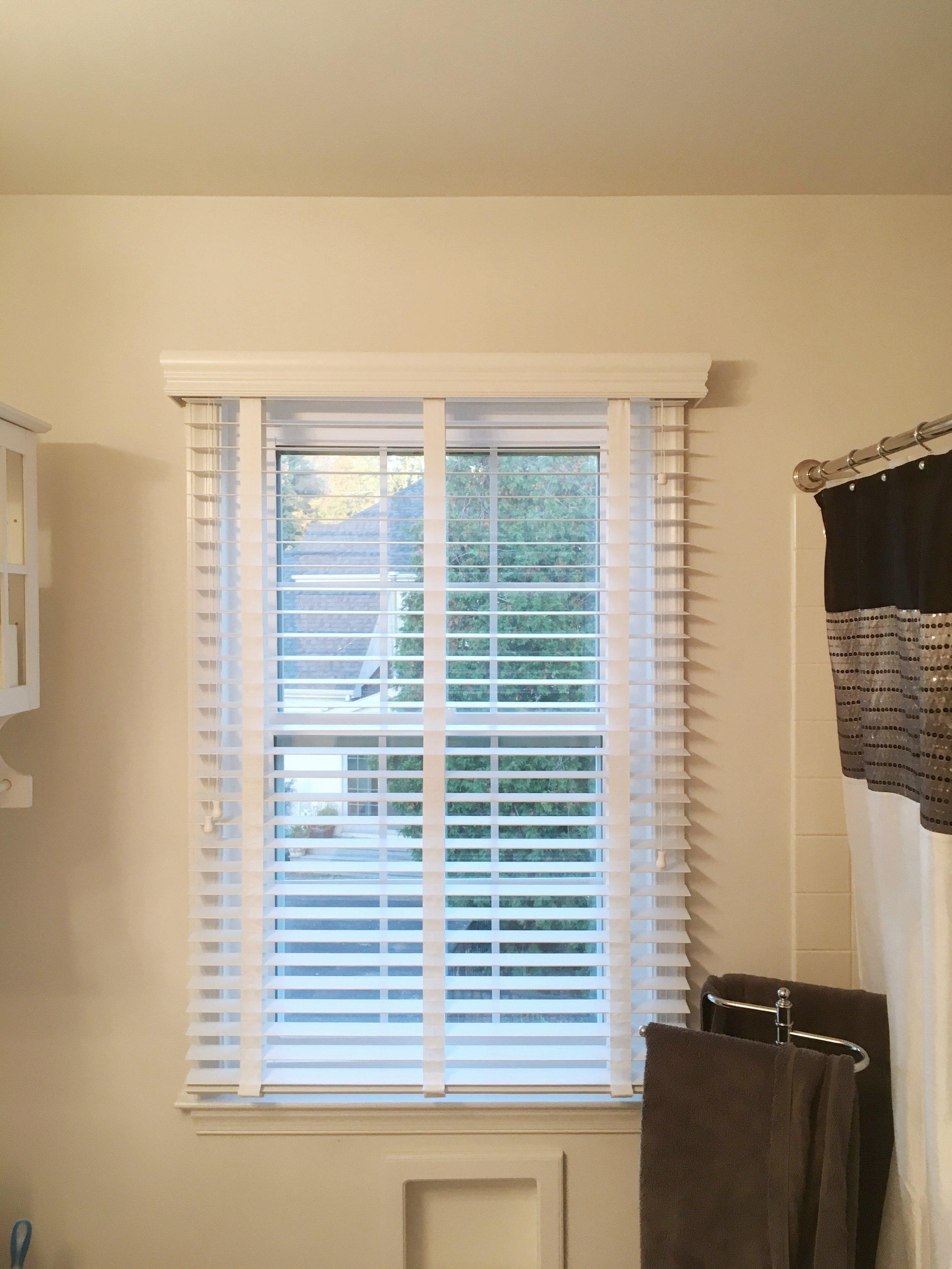 3rdGenBlinds opened custom white window blinds in master bathroom