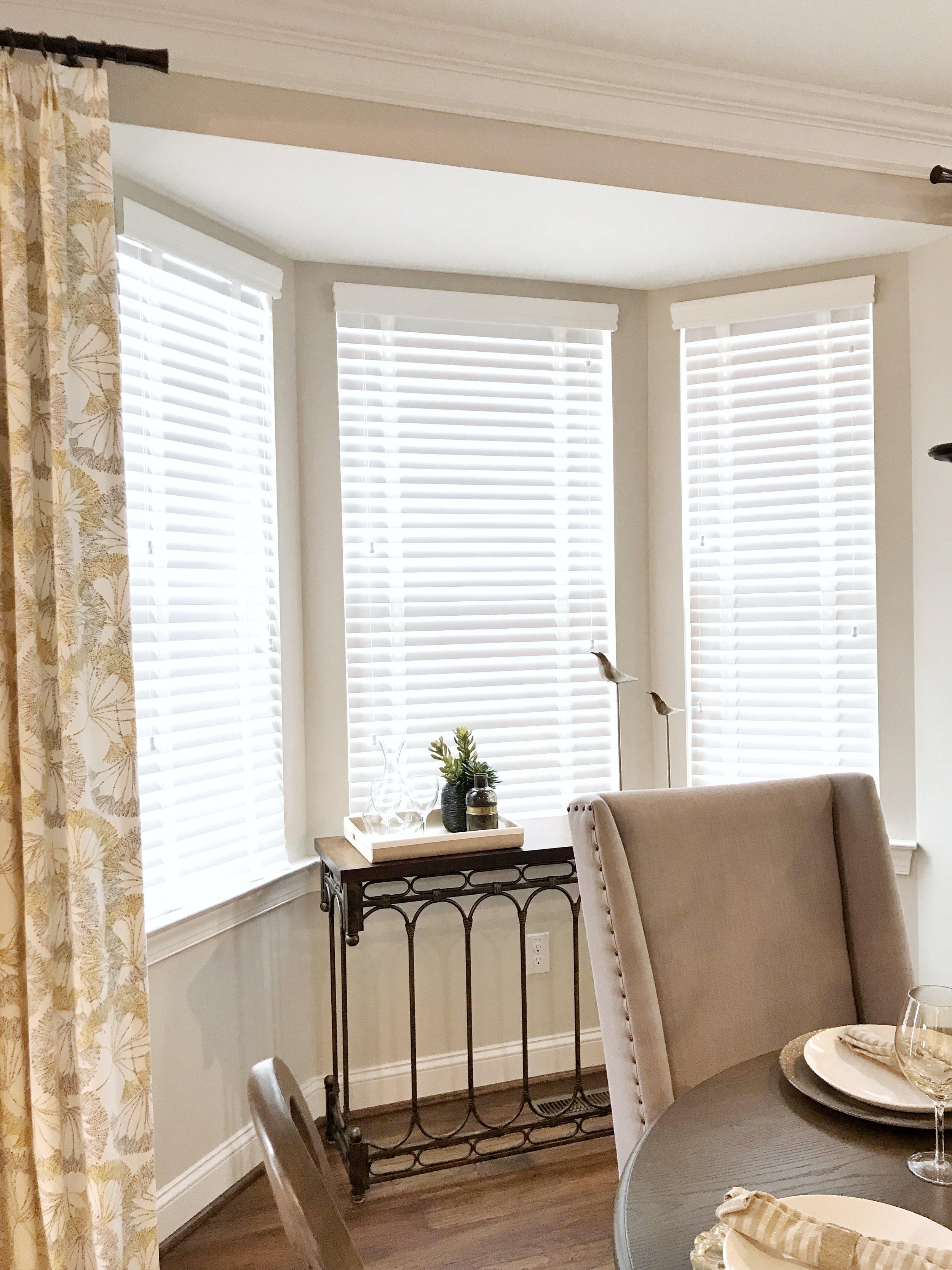 3rdGenBlinds white custom window blinds in dining room