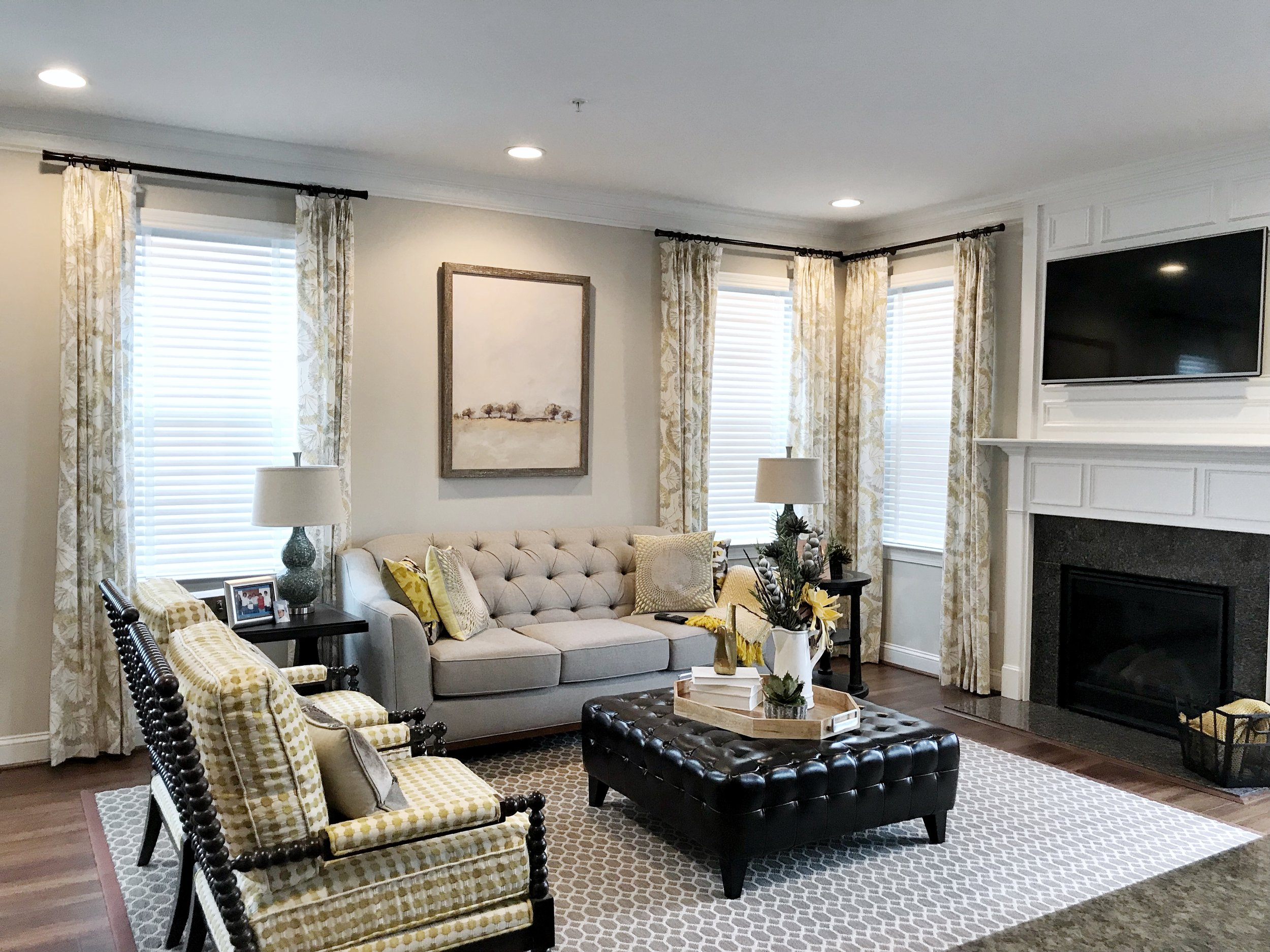 Living room custom white window blinds by 3rdGenBlinds
