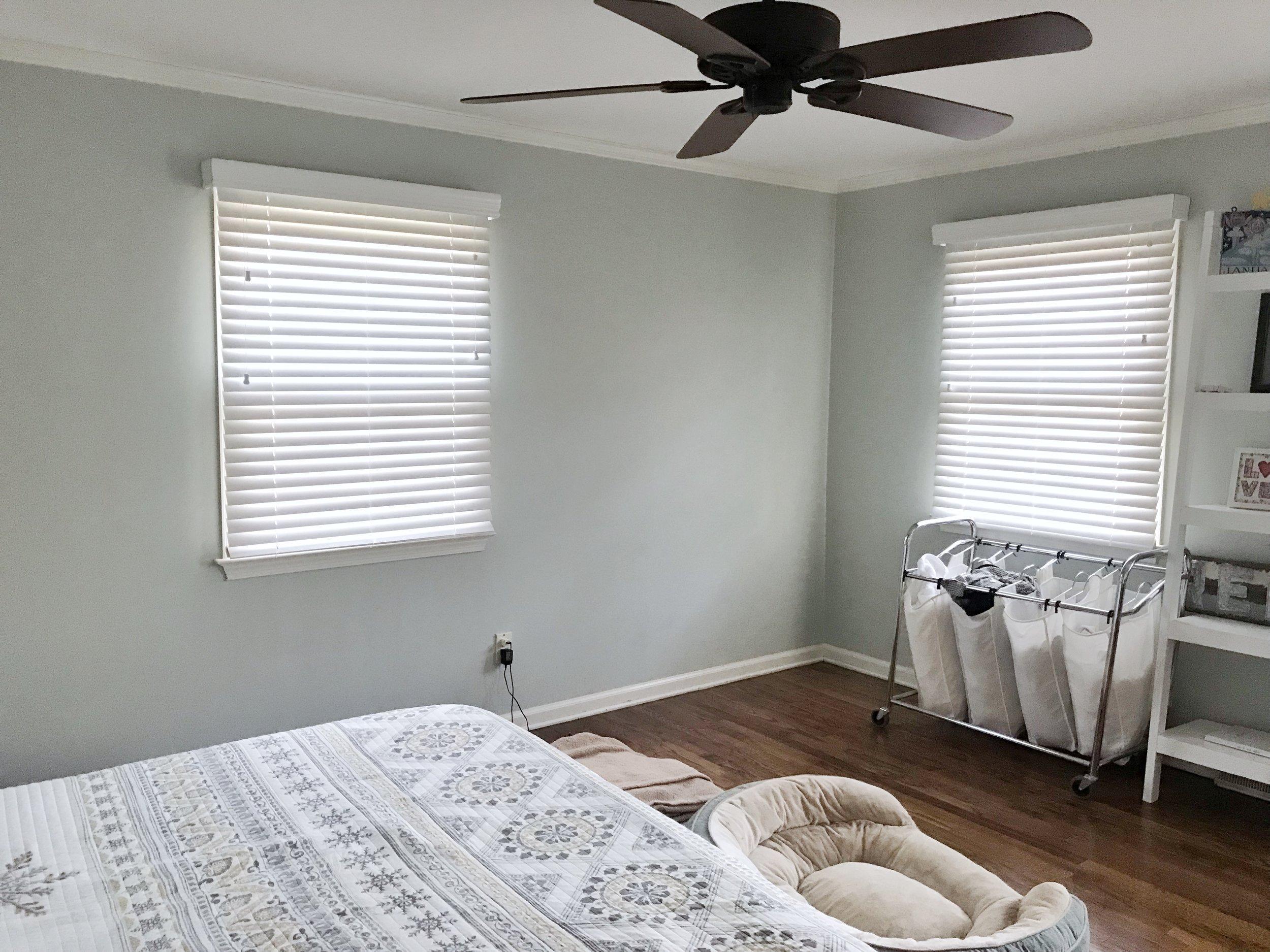 Master bedroom custom white window blinds by 3rdGenBlinds
