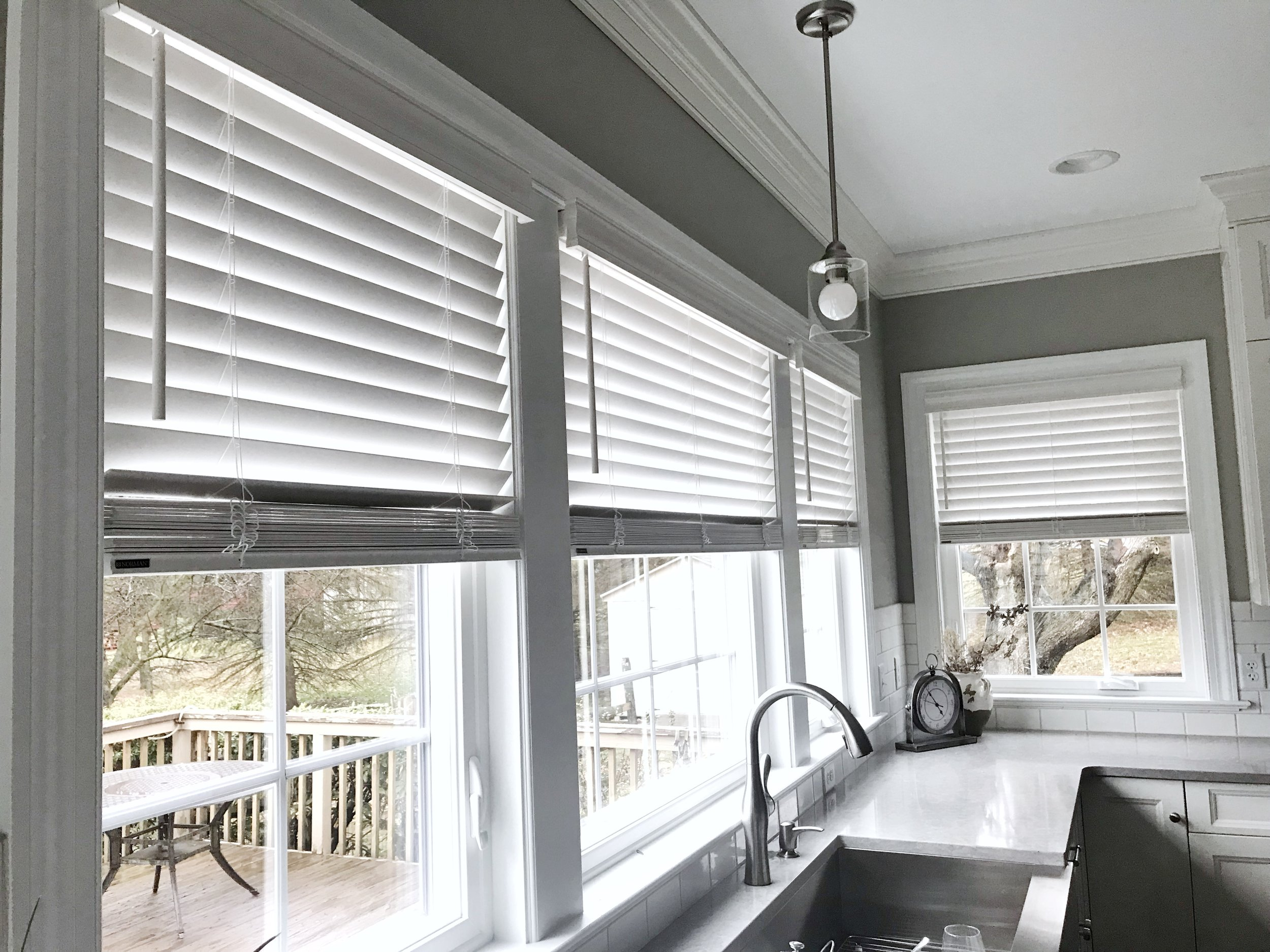 3rdGenBlinds custom white window blinds in kitchen