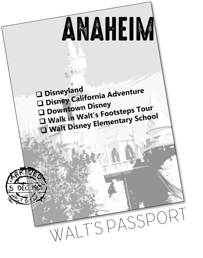 SPECIAL FEATURE: WALT'S PASSPORT - The end of every chapter features Walt's Passport, which is used to check off the sites as you visit them. The special passport stamp features Walt's birthdate. The passport watermark is Sleeping Beauty Castle in Disneyland.Image of Castle taken by Christopher Tremblay and also digitized by Tremblay.