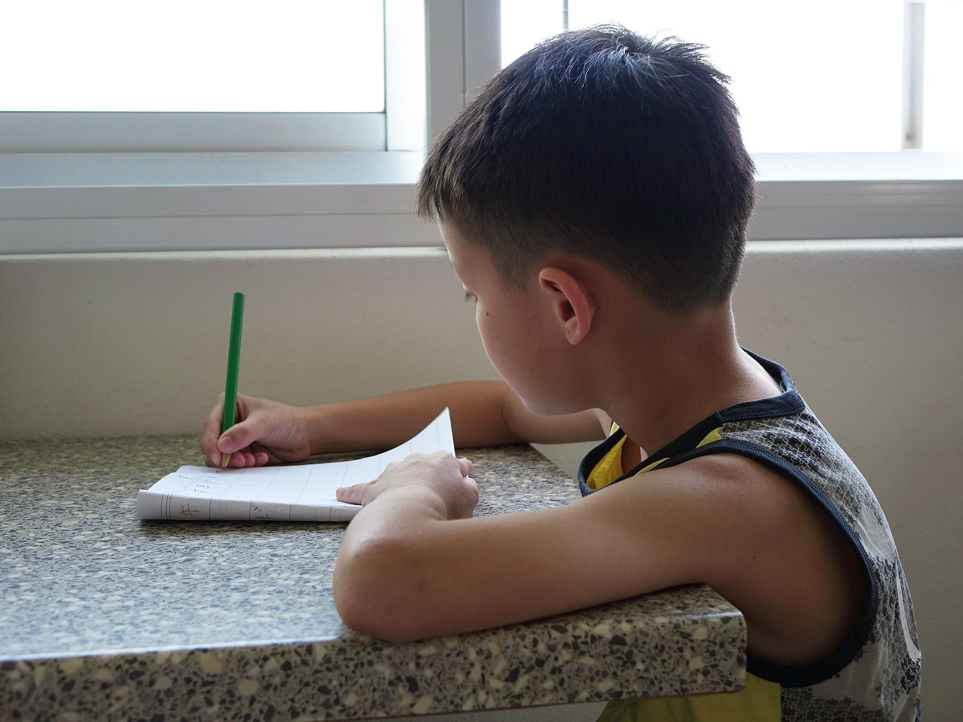 boy dong homework