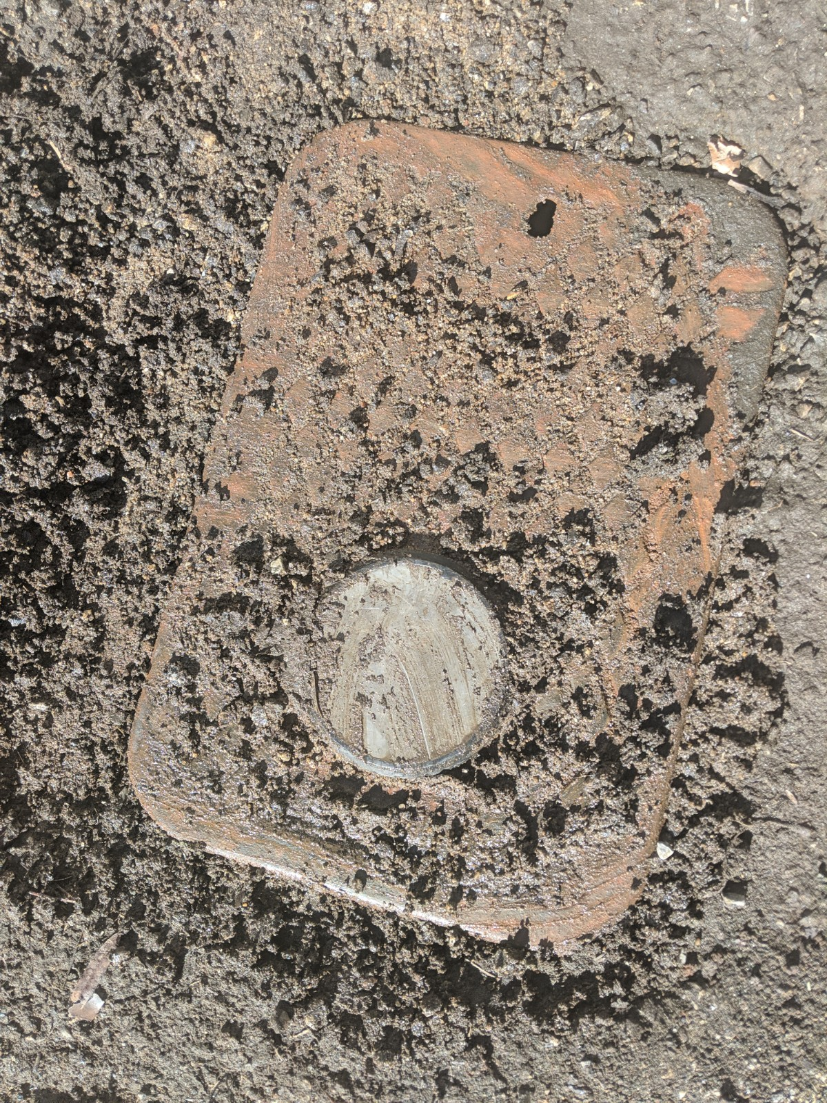 Unburied water meter.