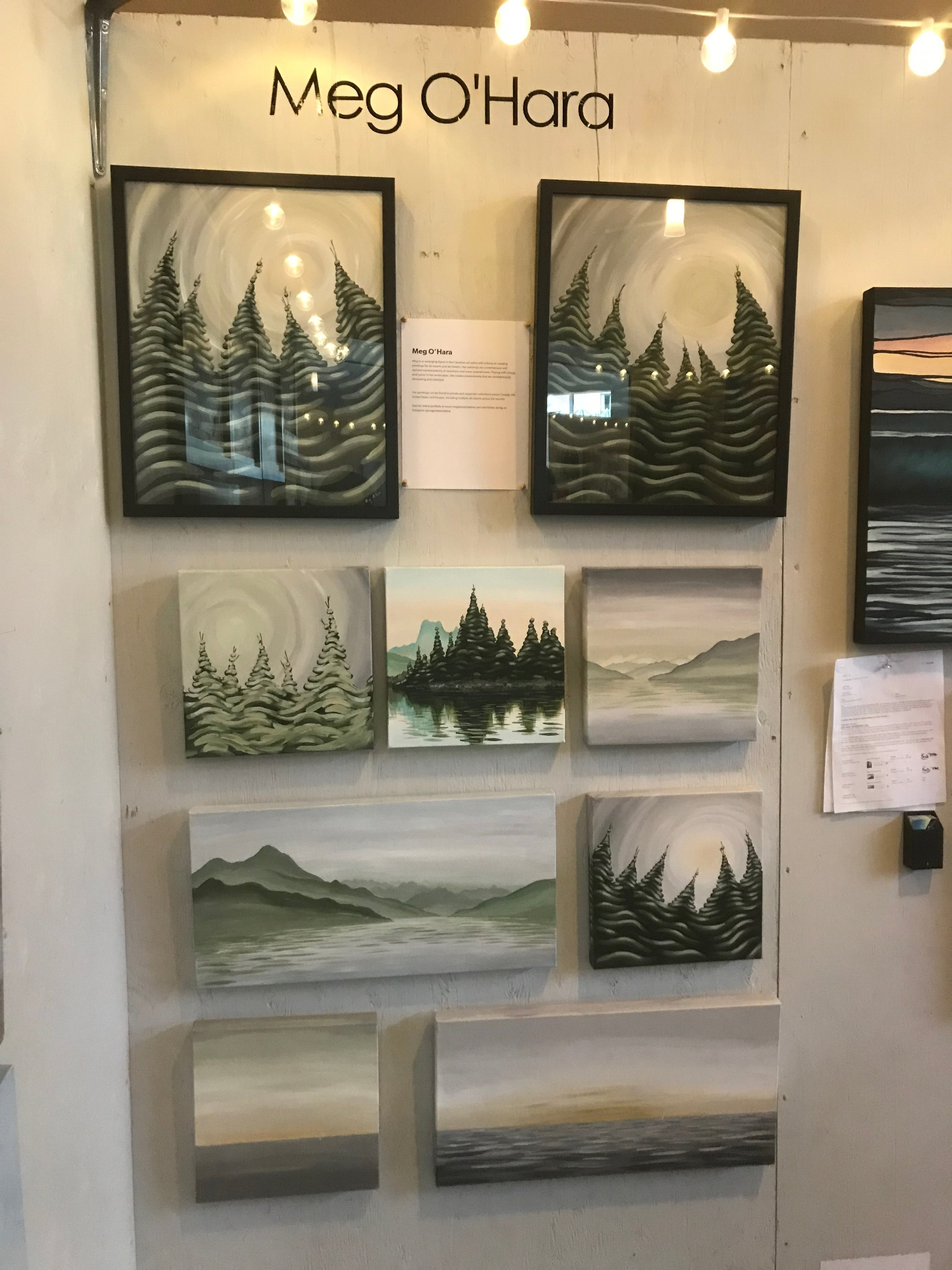 My paintings on display at the World Ski and Snowboard Festival