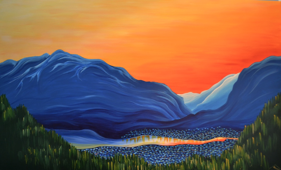 """Acrylic on 48""""x72"""" canvas - the view of Revelstoke, BC from the ski jump"""