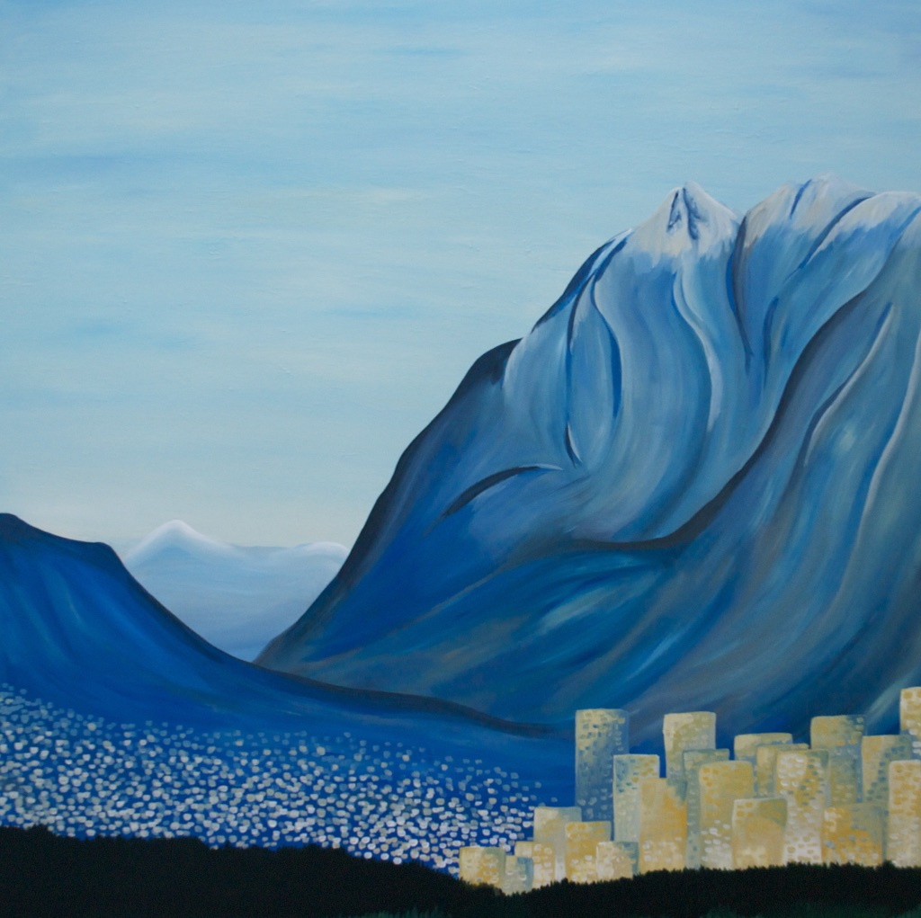"""Acrylic on 48""""x48"""" canvas - the view of Vancouver from Kits Beach"""