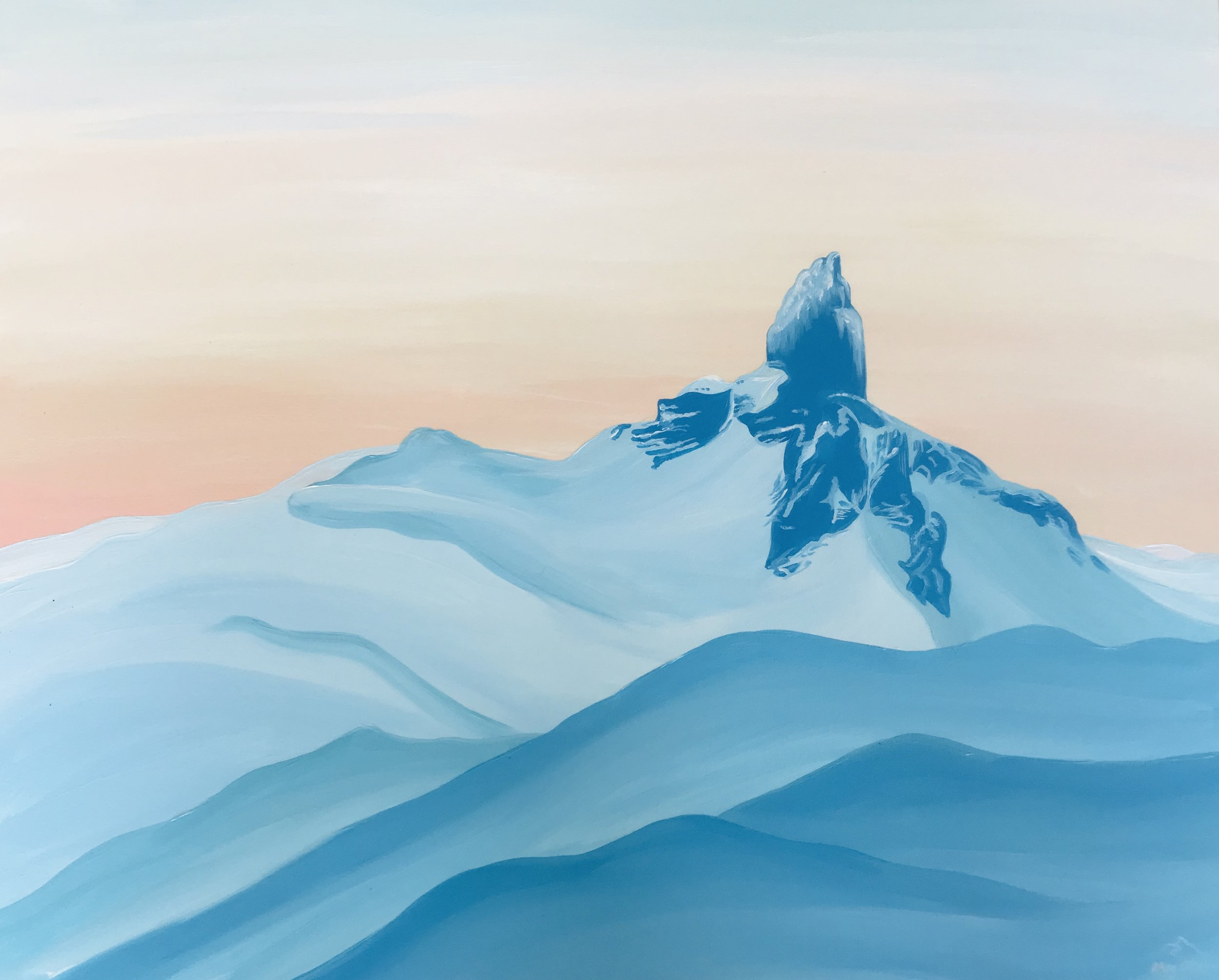 A painting of the Black Tusk, an iconic view from Whistler Blackcomb