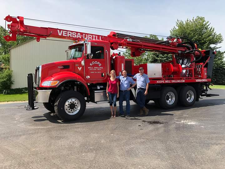 *In addition to the vehicle's built-in features, the Koops team have added a few custom adjustments to to make sure the rig is set up just the way they want. Their V-125X water well drilling rig has been outfitted with a hose reel and a 230-volt generator for pump tests.