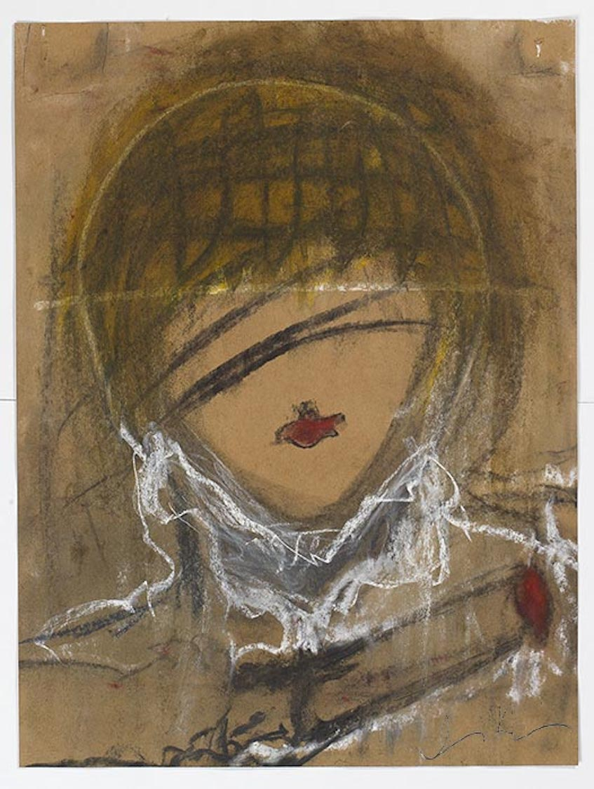 "Iris Klein © GIRLS WITH GUNS Chalk Pastel on Archived Brown Paper 24""x18"" 2017"
